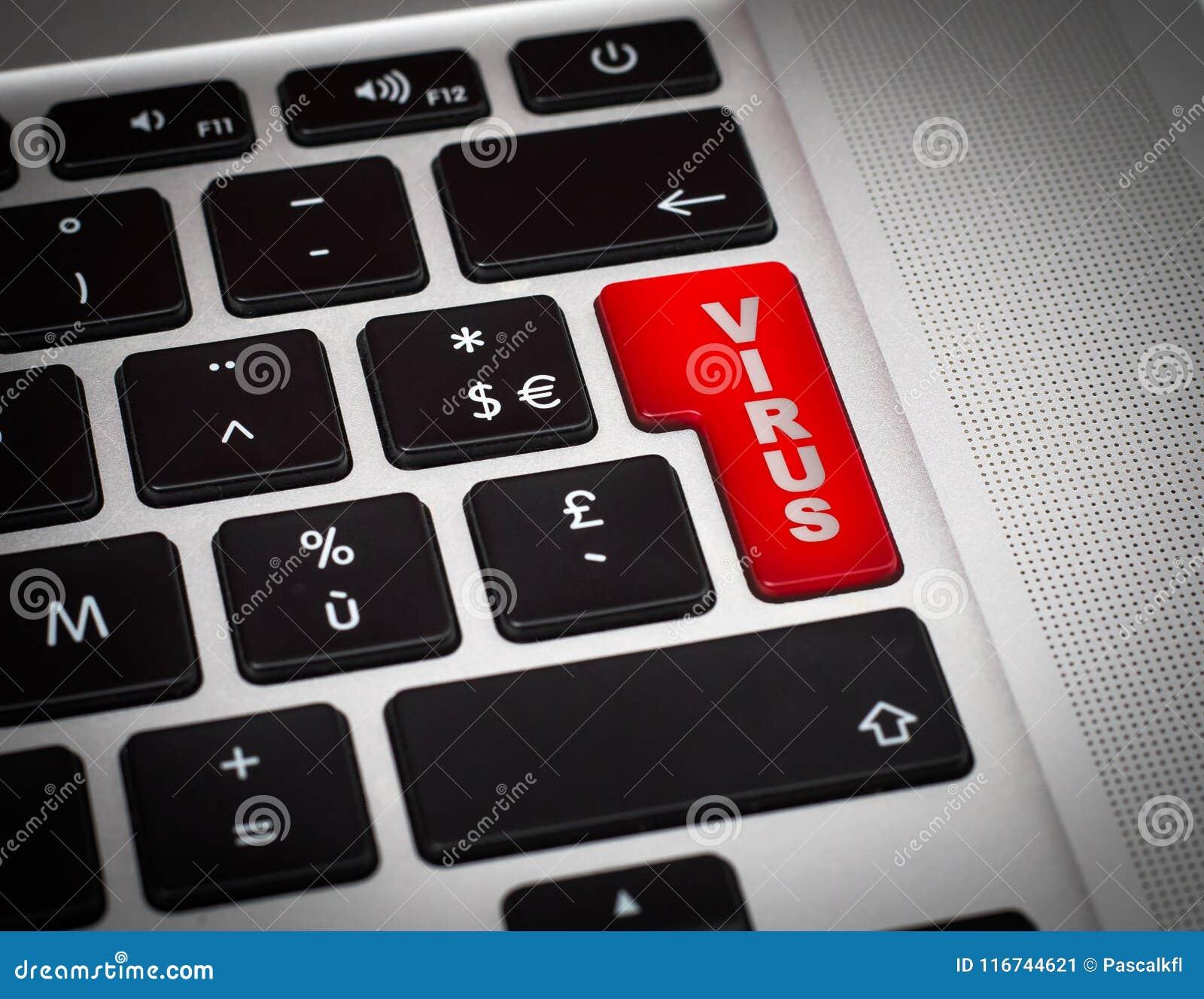 Κόκκινο κουμπί με τη λέξη ιών στην κινηματογράφηση σε πρώτο πλάνο πληκτρολογίων