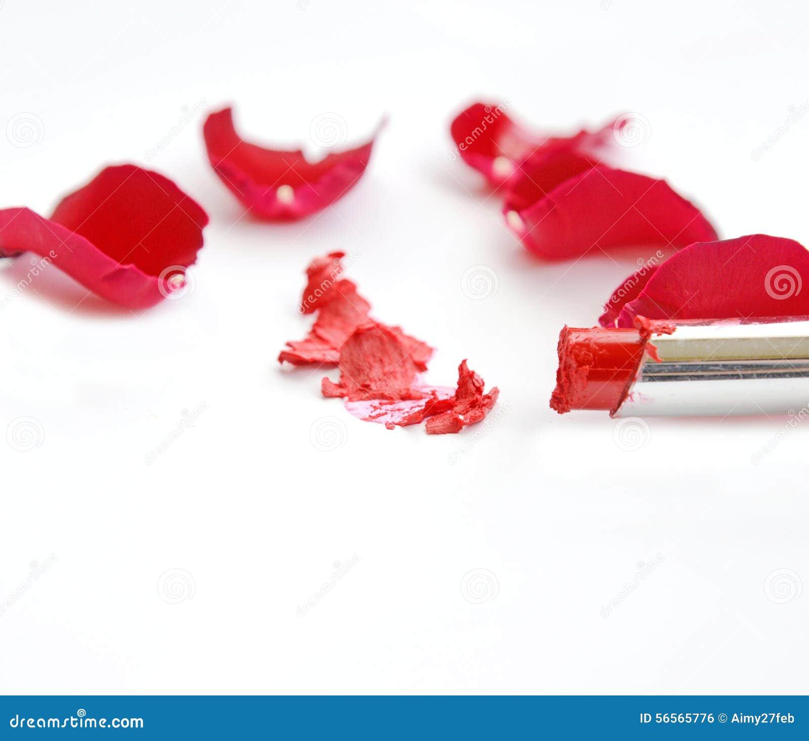 Download Κόκκινο κραγιόν με τα κόκκινα τριαντάφυλλα στο λευκό Στοκ Εικόνες - εικόνα από με, glamor: 56565776