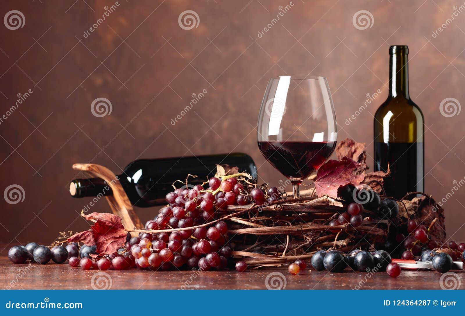 Κόκκινο κρασί και φρέσκα σταφύλια με τα στεγνωμένα φύλλα αμπέλων