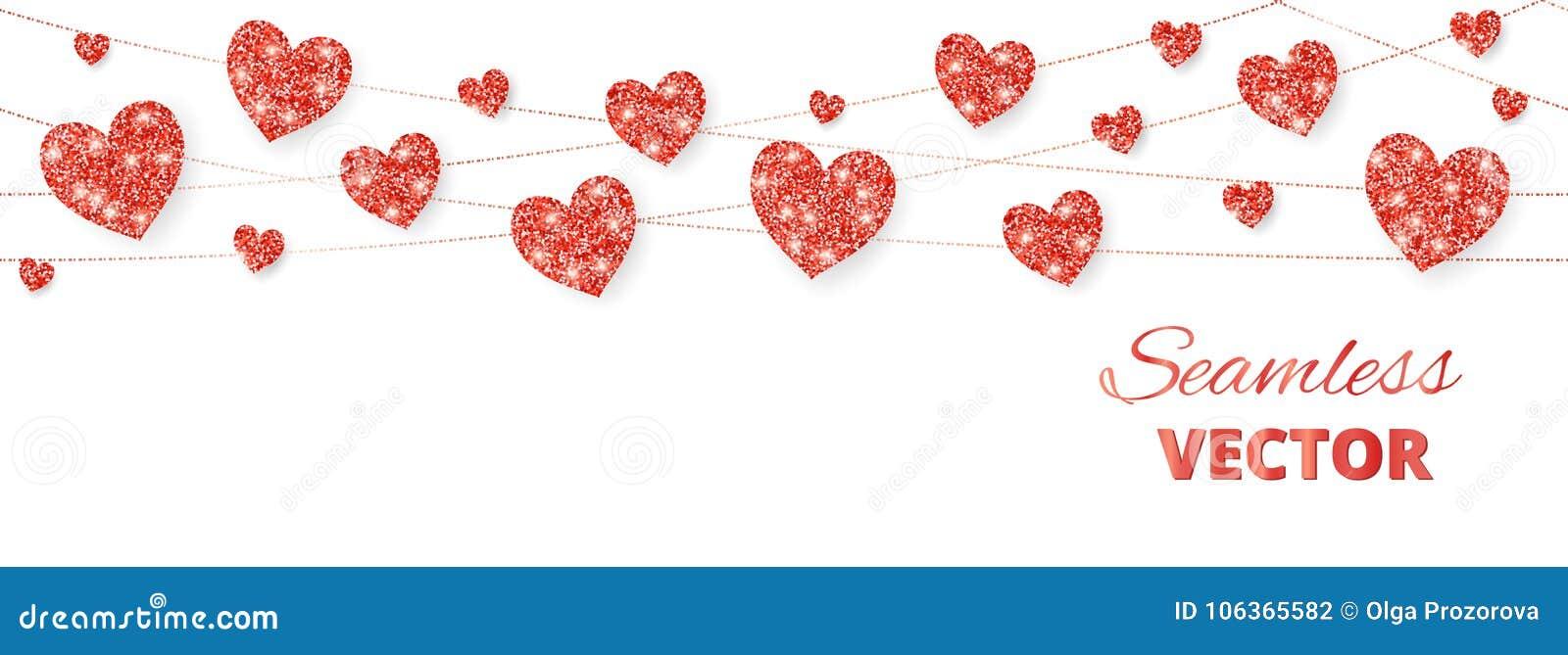 Κόκκινο πλαίσιο καρδιών, άνευ ραφής σύνορα Το διάνυσμα ακτινοβολεί απομονωμένος στο λευκό Για τη διακόσμηση των καρτών βαλεντίνων