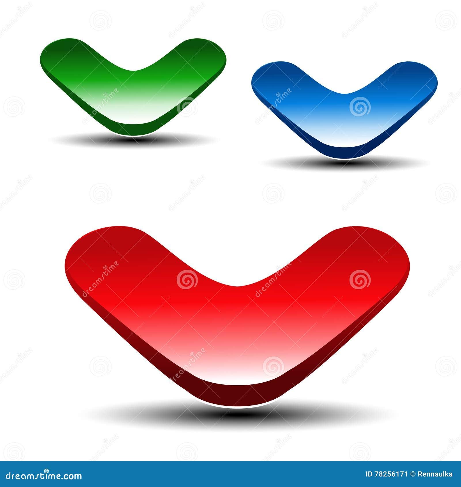 Κόκκινο, πράσινο και μπλε βέλος στο άσπρο υπόβαθρο Απλά κουμπιά βελών Σύνδεση ή δείκτης Ιστού Το σύμβολο έπειτα, διάβασε περισσότ