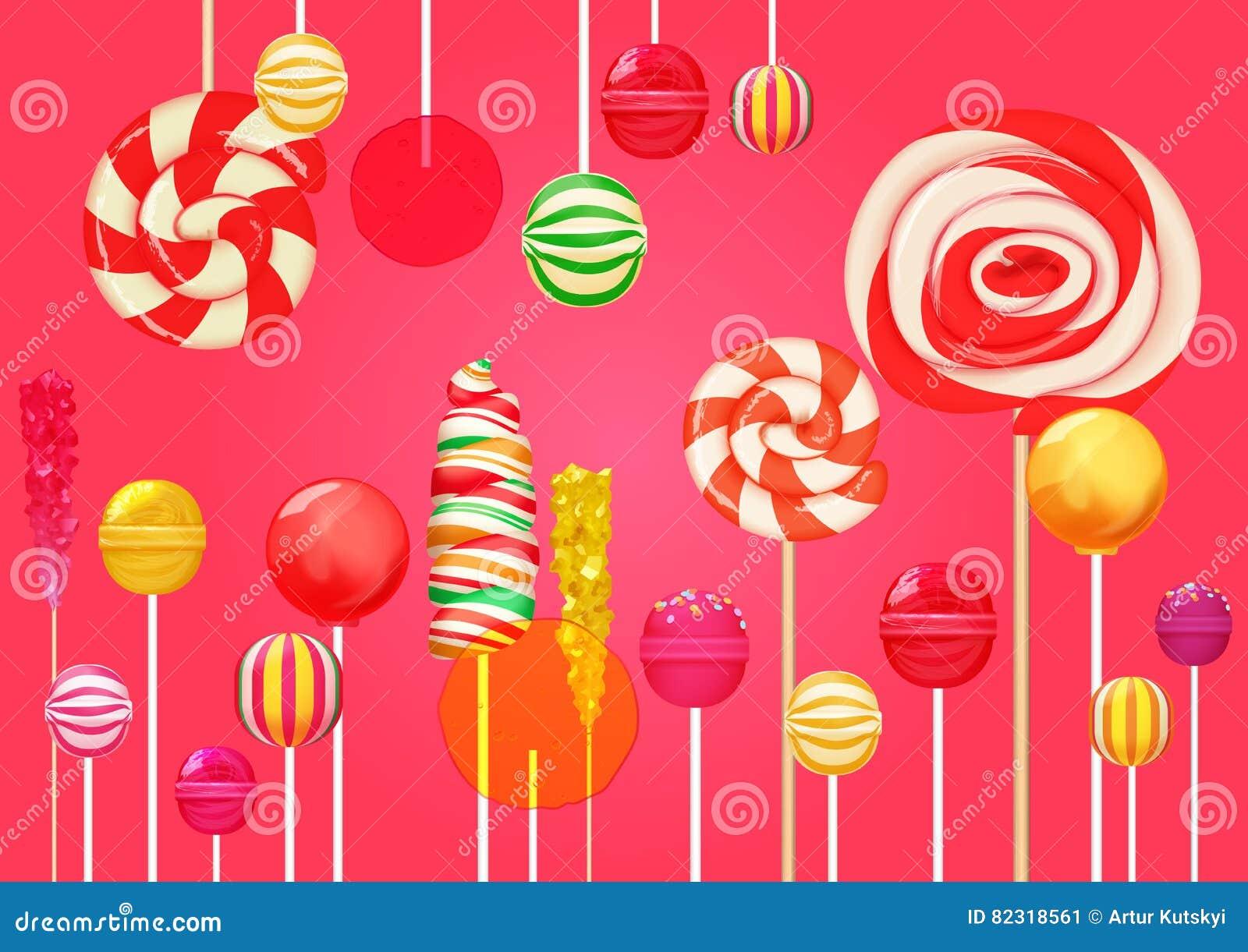 Κόκκινο ρόδινο υπόβαθρο ζάχαρης με τα φωτεινά ζωηρόχρωμα γλυκά καραμελών lollipops Το κατάστημα καραμελών Γλυκό χρώμα lollipop
