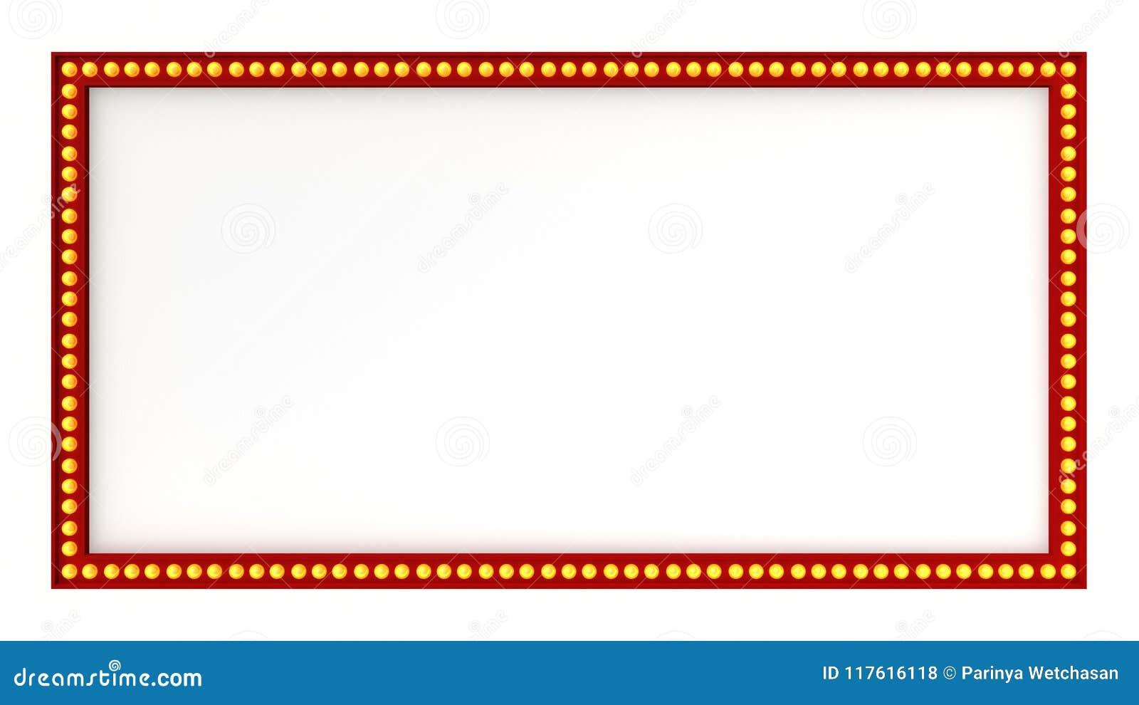 Κόκκινο σημάδι πινάκων σκηνών ελαφρύ αναδρομικό στο άσπρο υπόβαθρο τρισδιάστατη απόδοση