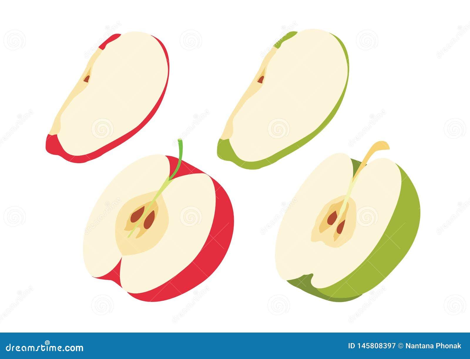 Κόκκινο της Apple στη μισή σφαίρα που απομονώνεται στο άσπρο διάνυσμα απεικόνισης υποβάθρου