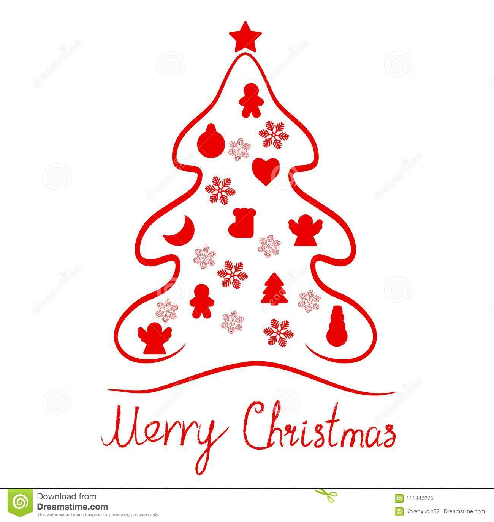 Κόκκινο υπόβαθρο εικονιδίων καρτών στοιχείων δέντρων Χαρούμενα Χριστούγεννας
