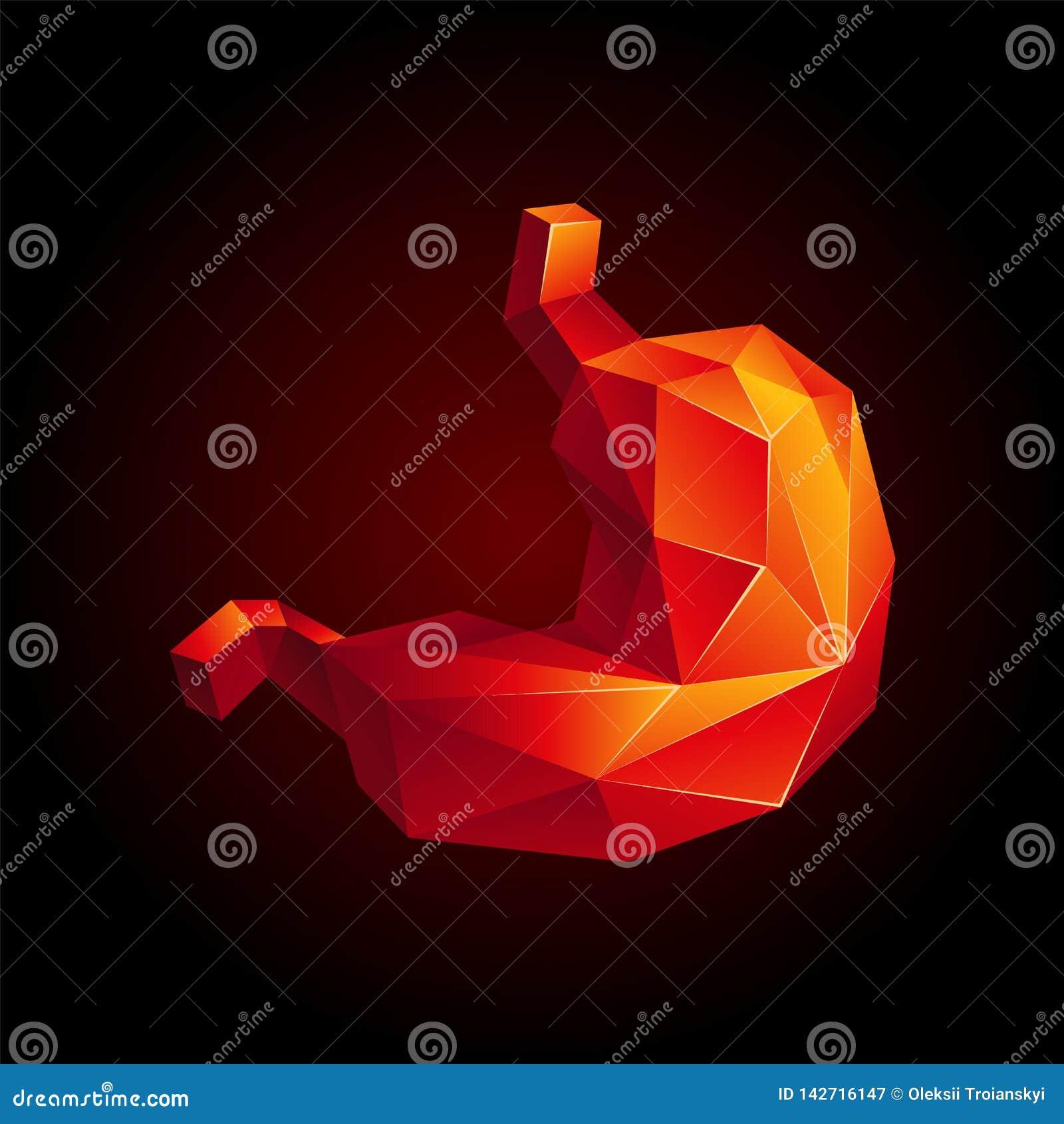 Κόκκινο χαμηλό πολυ ανθρώπινο στομάχι σε ένα μαύρο υπόβαθρο Αφηρημένο όργανο ανατομίας Στομάχι στο τρισδιάστατο ύφος πολυγώνων