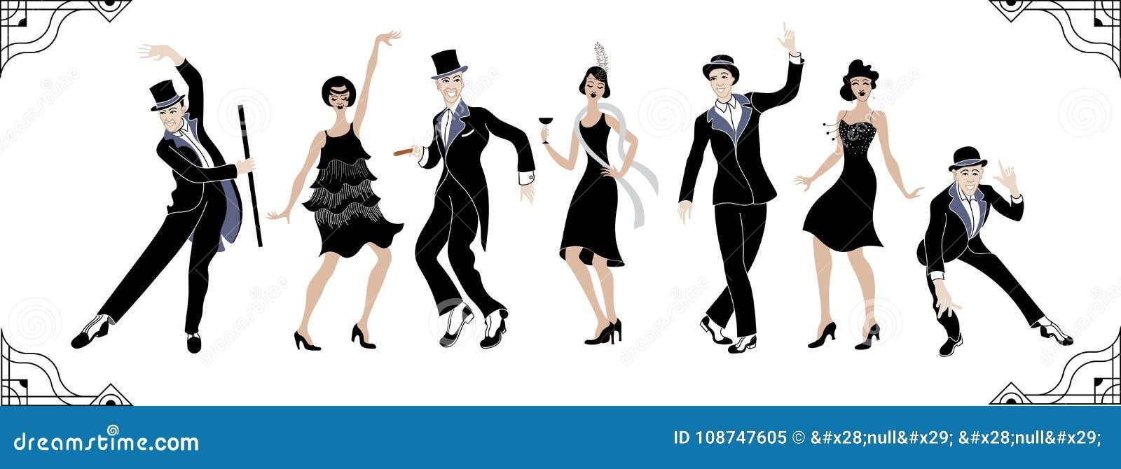 Κόμμα του Τσάρλεστον Σύνολο ύφους Gatsby Ομάδα αναδρομικών γυναίκας και άνδρα χορεύοντας Τσάρλεστον κόκκινος τρύγος ύφους κρίνων
