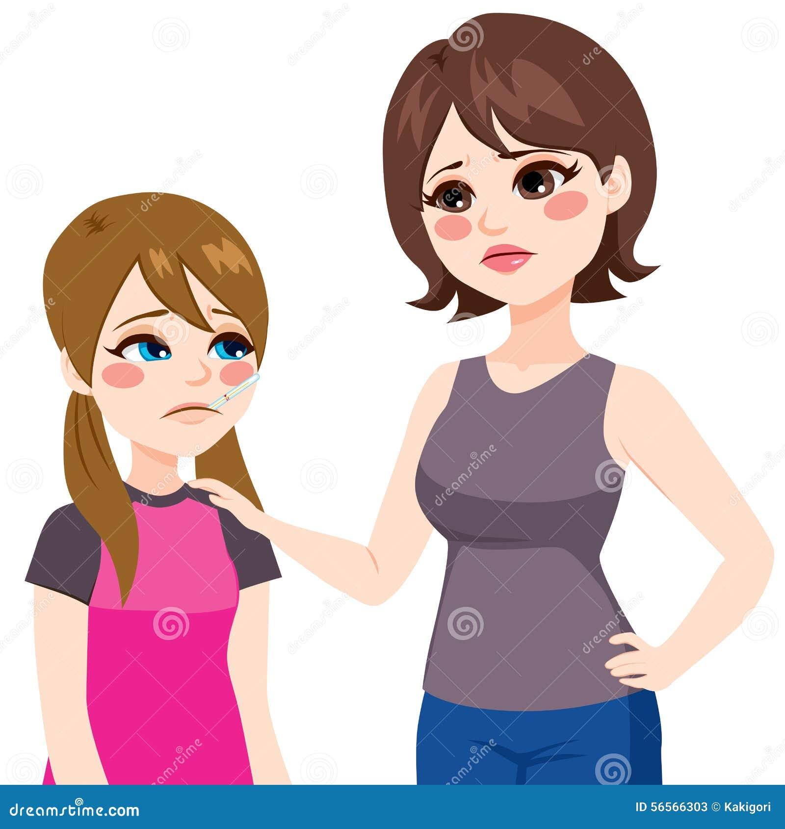 Download Κόρη με το θερμόμετρο και μητέρα Διανυσματική απεικόνιση - εικονογραφία από θηλυκό, αγάπη: 56566303