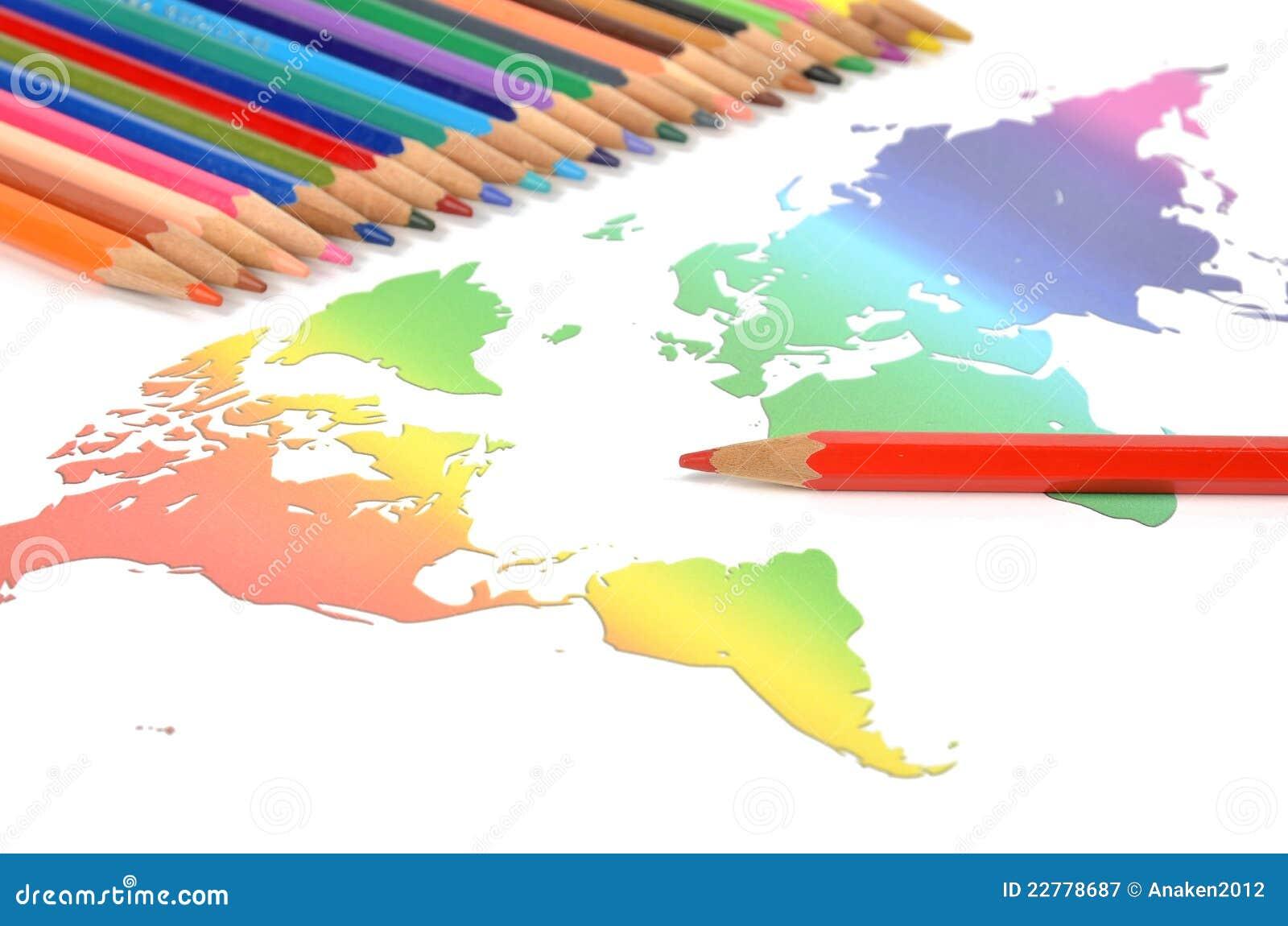 κόσμος μολυβιών χαρτών χρώμ&a