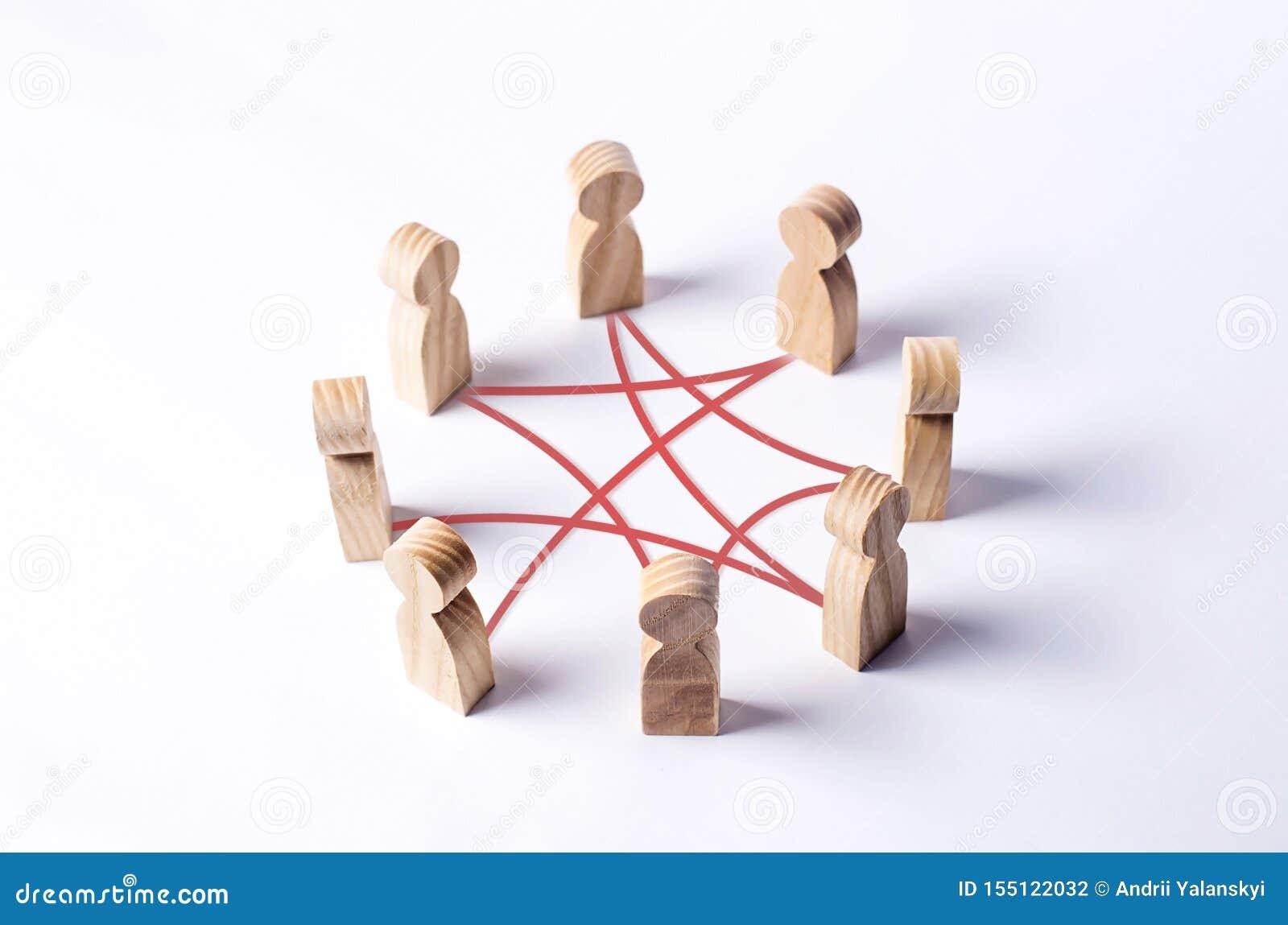 Κύκλος των ανθρώπων που διασυνδέεται από τις κόκκινες γραμμές καμπυλών συνεργασία, ομαδική εργασία, κατάρτιση Προσωπικό, κοινοτικ