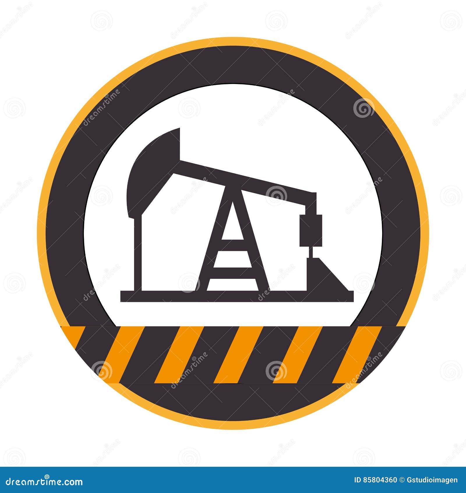 Κύκλος σκιαγραφιών χρώματος με τις γραμμές προειδοποίησης με την εξαγωγή πετρελαίου πύργων και συστημάτων