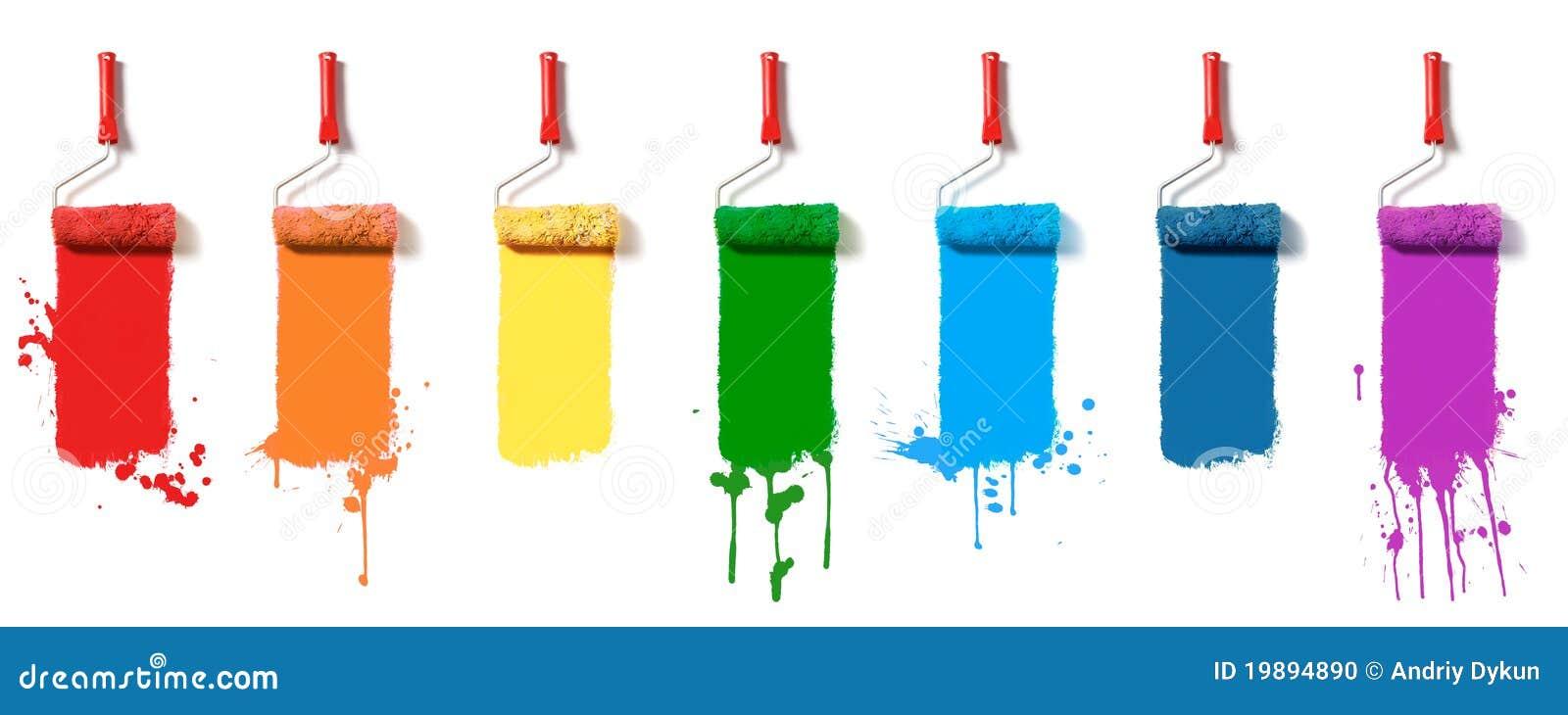 κύλινδροι χρωμάτων που τίθ&