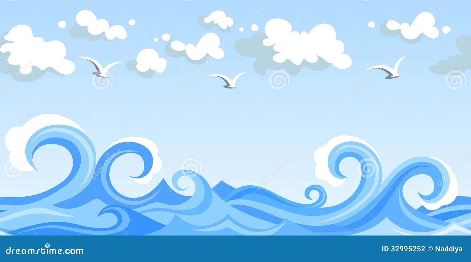 Κύματα και σύννεφα θάλασσας. οριζόντιο άνευ ραφής τοπίο.