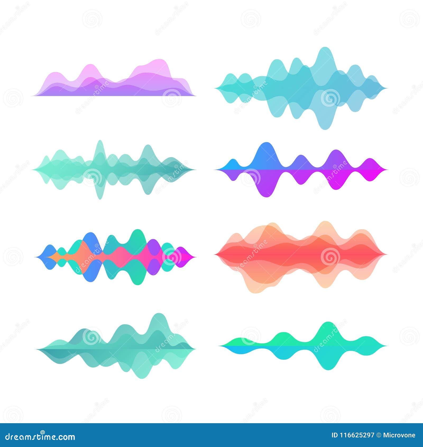 Κύματα κινήσεων χρώματος εύρους Αφηρημένο ηλεκτρονικό διανυσματικό σύνολο κυμάτων φωνής μουσικής υγιές