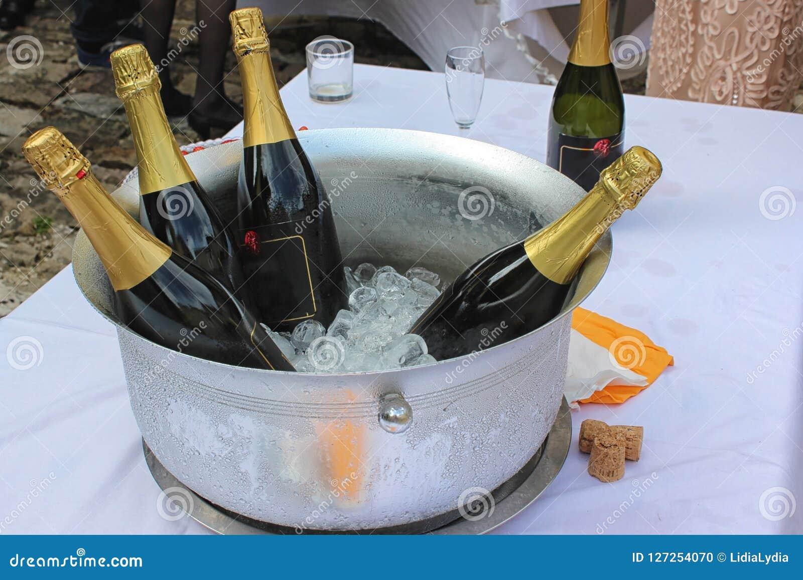 Κύπελλο μετάλλων που γεμίζουν με τα μπουκάλια πάγου και κρασιού