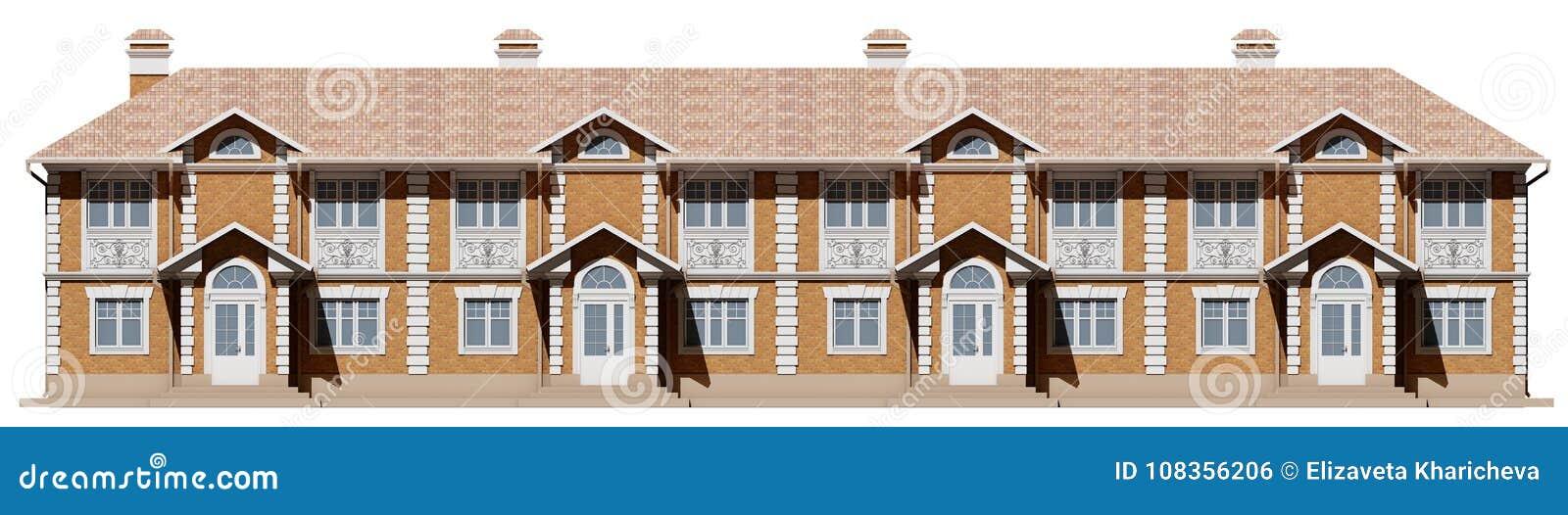 Κύρια πρόσοψη townhouses Σπίτια οδών σε τρισδιάστατο