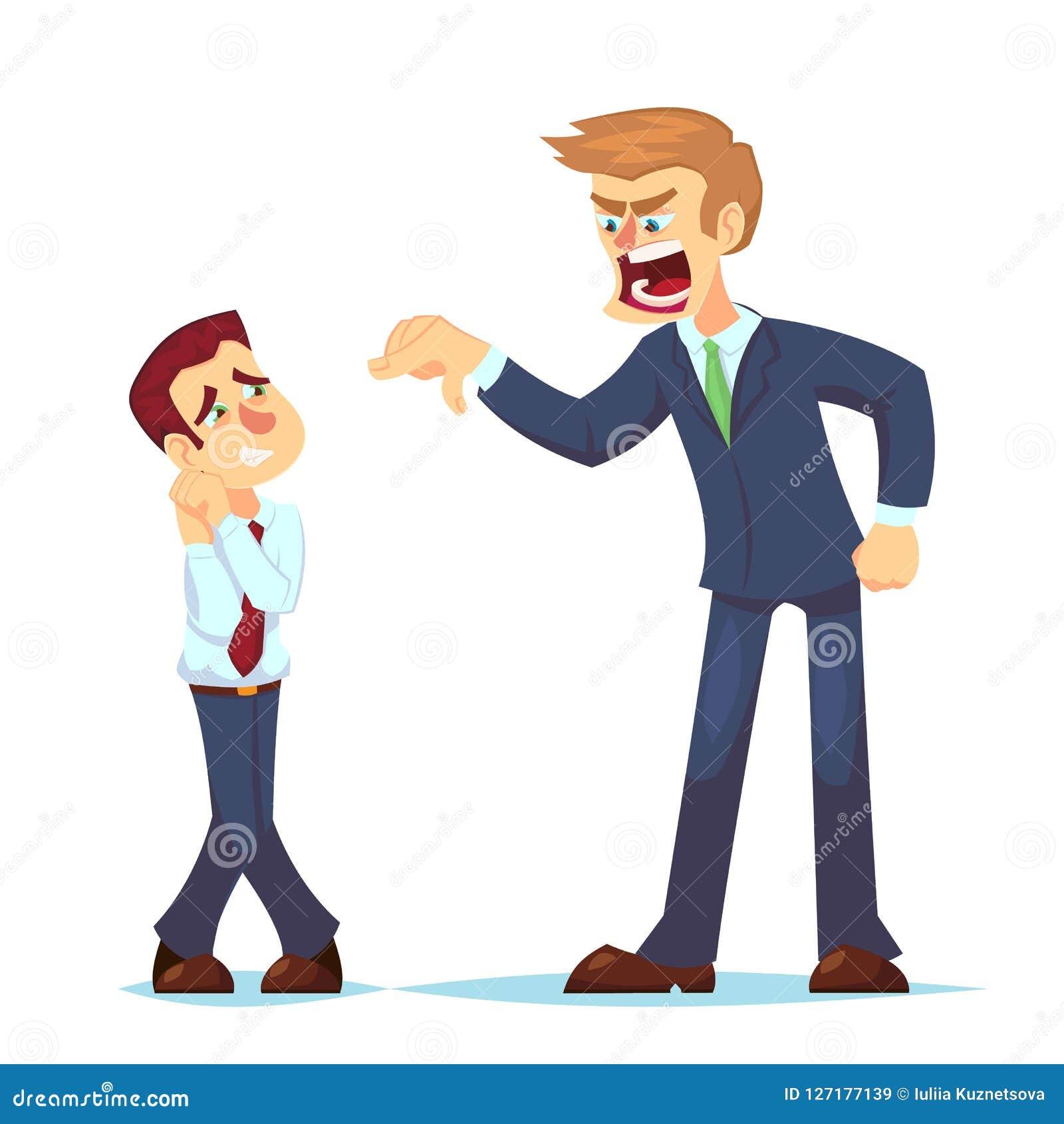 Κύριες κραυγές χαρακτήρα ατόμων στον εργαζόμενο Διανυσματικός επίπεδος 0 επιχειρηματίας απεικόνισης κινούμενων σχεδίων που φωνάζε