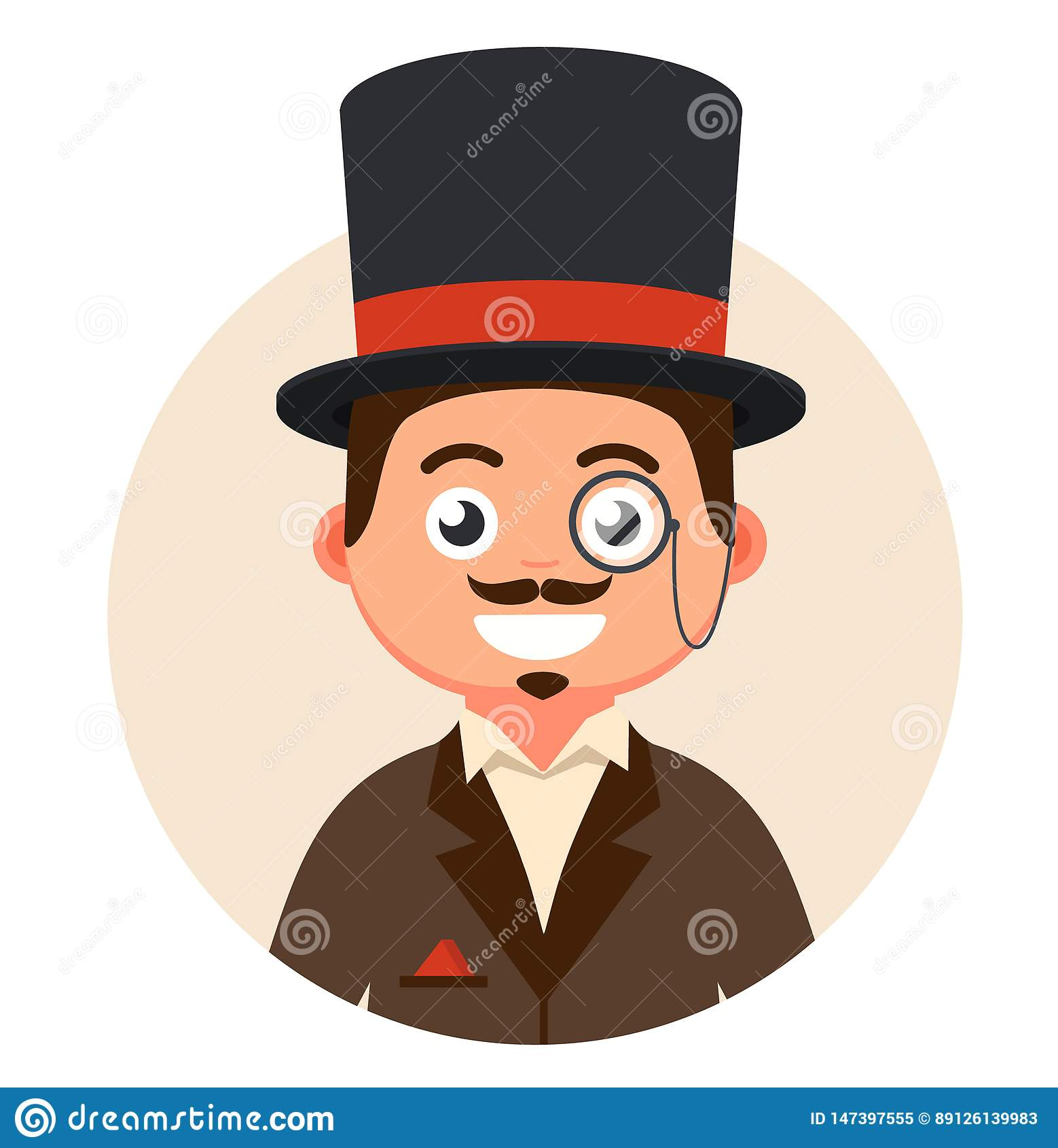 Κύριος στο τοπ καπέλο και γυαλιά σε μια φυσαλίδα
