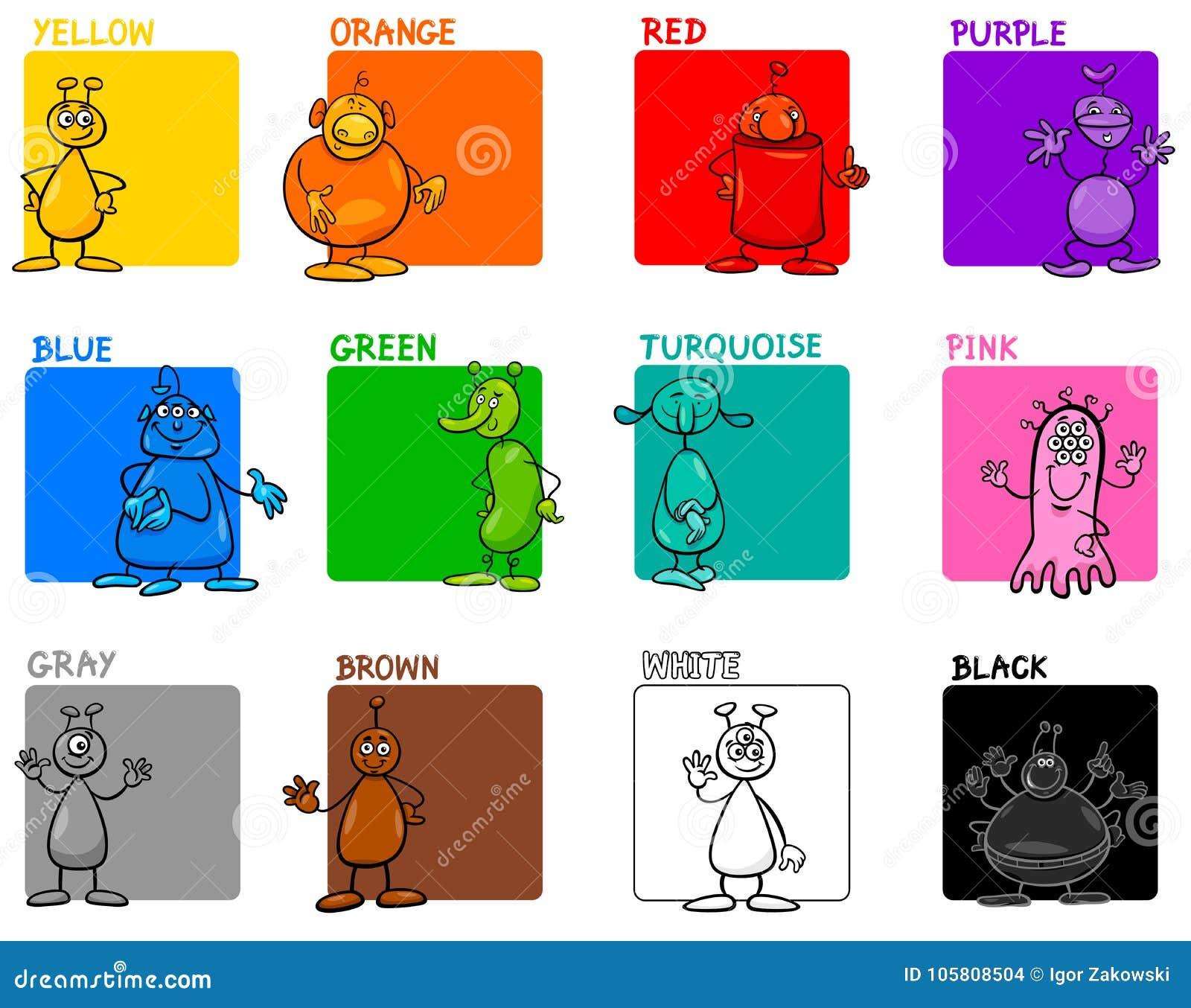 Κύριο εκπαιδευτικό σύνολο κινούμενων σχεδίων χρωμάτων με τους αλλοδαπούς