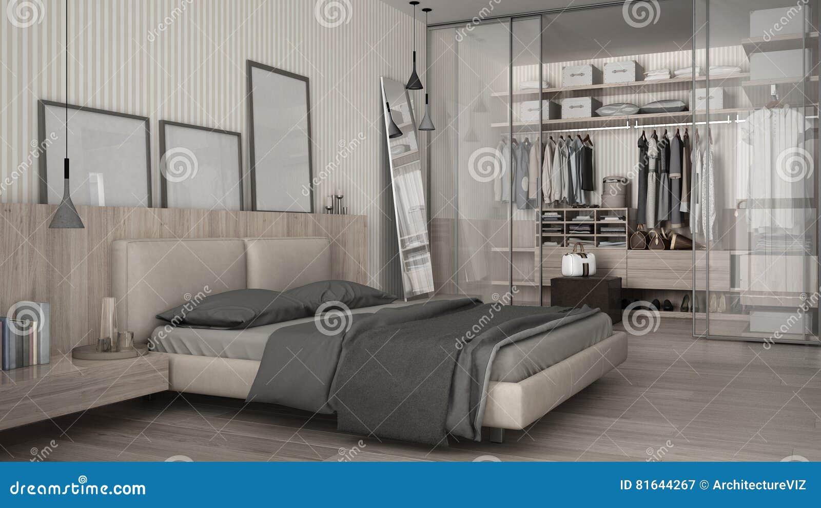 Κλασική ελάχιστη κρεβατοκάμαρα με το εισαγώμενο ντουλάπι