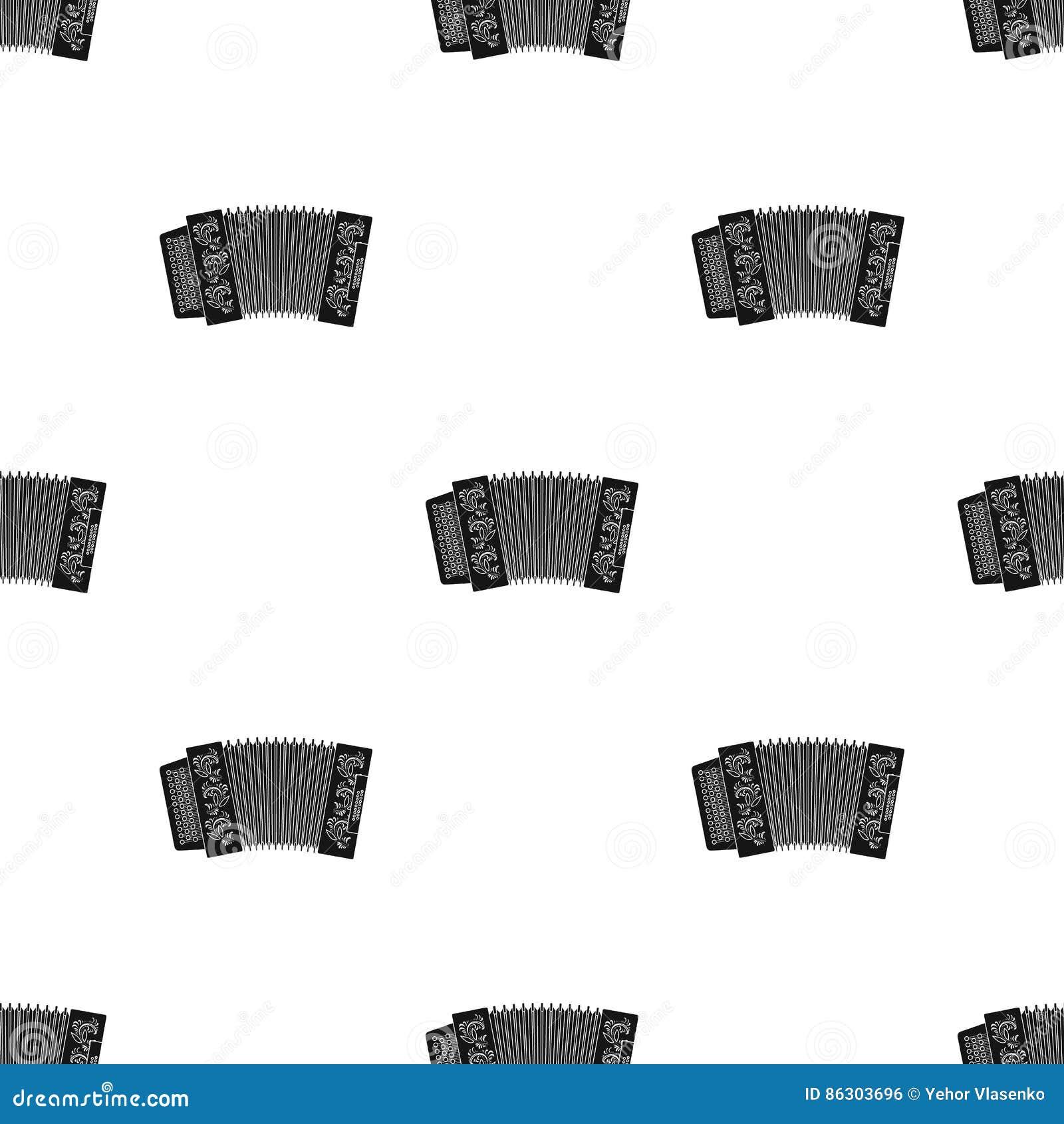 Κλασσικός bayan, ακκορντέον ή αρμονικό εικονίδιο στο μαύρο ύφος που απομονώνεται στο λευκό Ρωσικό απόθεμα σχεδίων χωρών