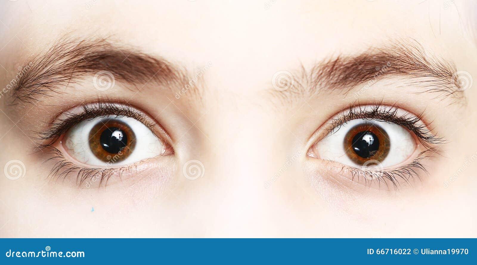 Κλείστε επάνω τη φωτογραφία των ματιών αγοριών ευρέως ανοικτών