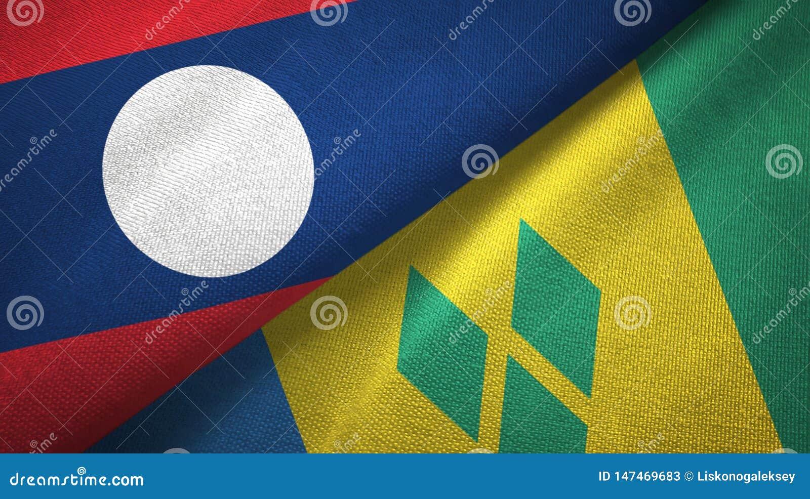 Λάος και Άγιος Βικέντιος και Γρεναδίνες δύο υφαντικό ύφασμα σημαιών