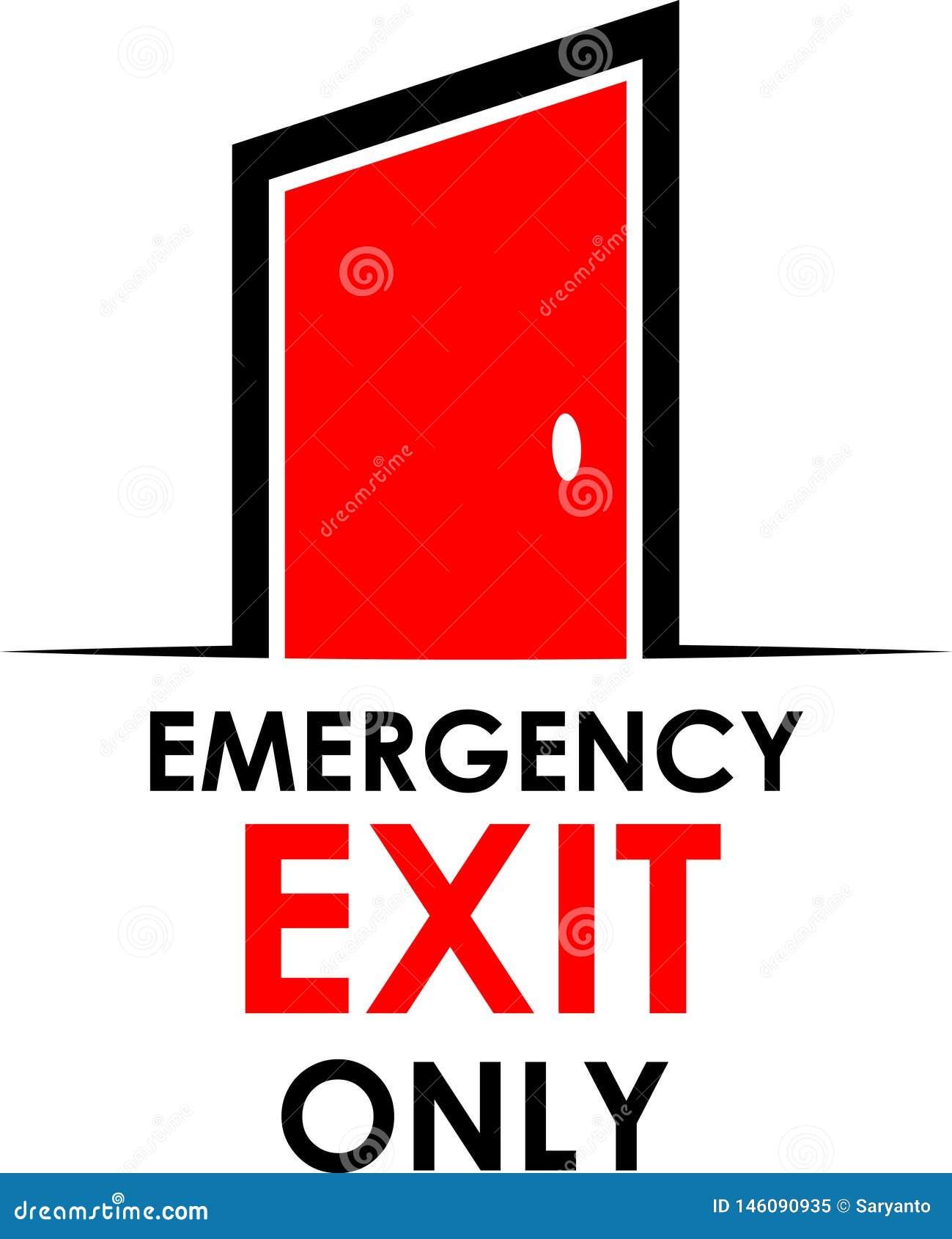 Λέξη, έξοδος κινδύνου μόνο με την πόρτα, απεικόνιση αποθεμάτων