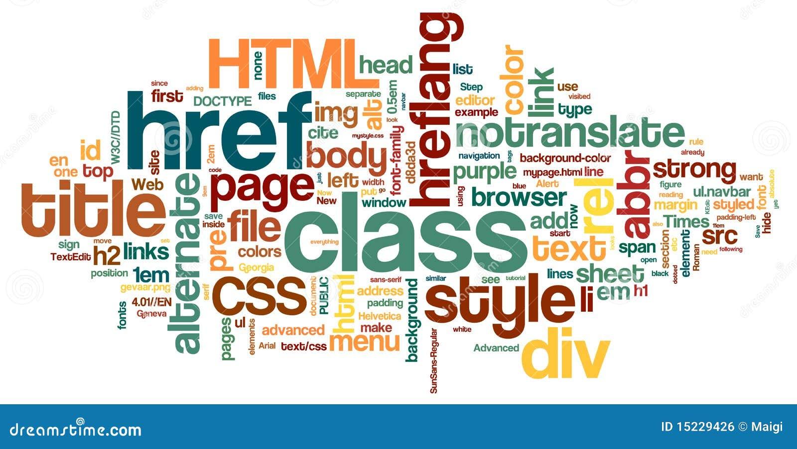 λέξη HTML σύννεφων