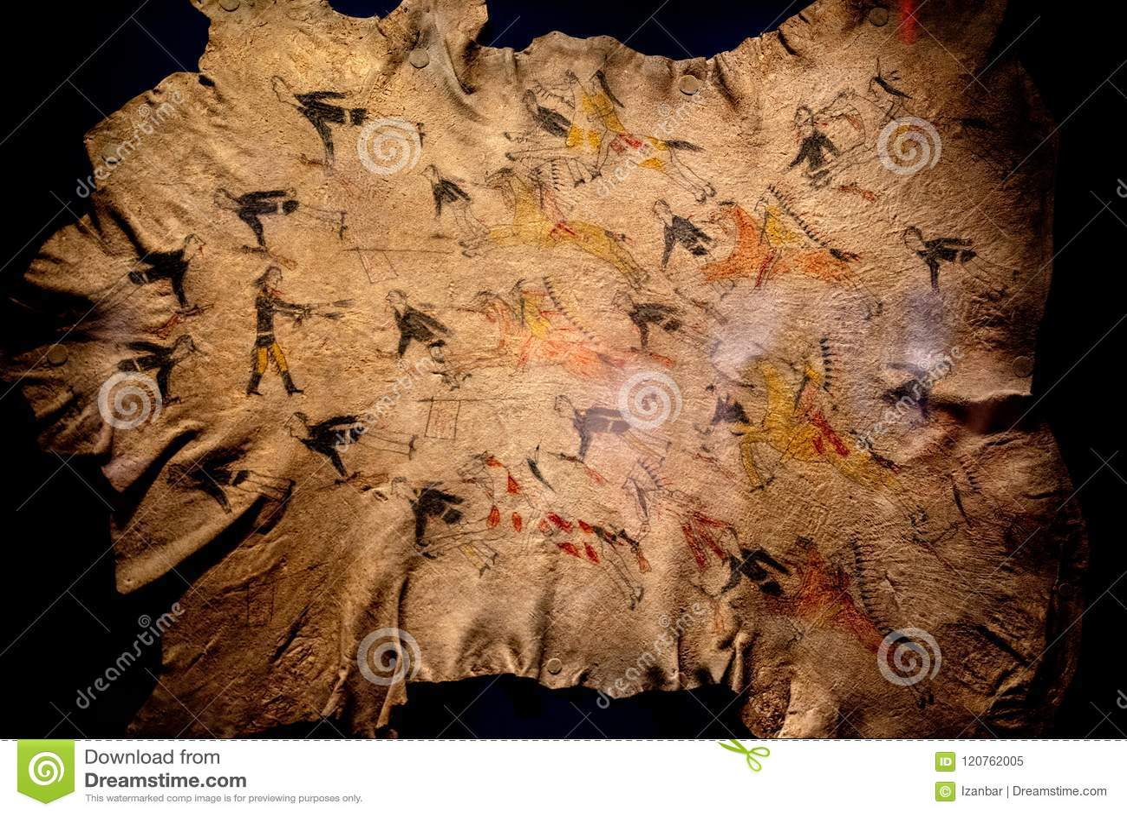 ef48fa1e534a Λίγη μεγάλη ζωγραφική του Cheyenne μάχης κέρατων στο δέρμα βούβαλων 1876