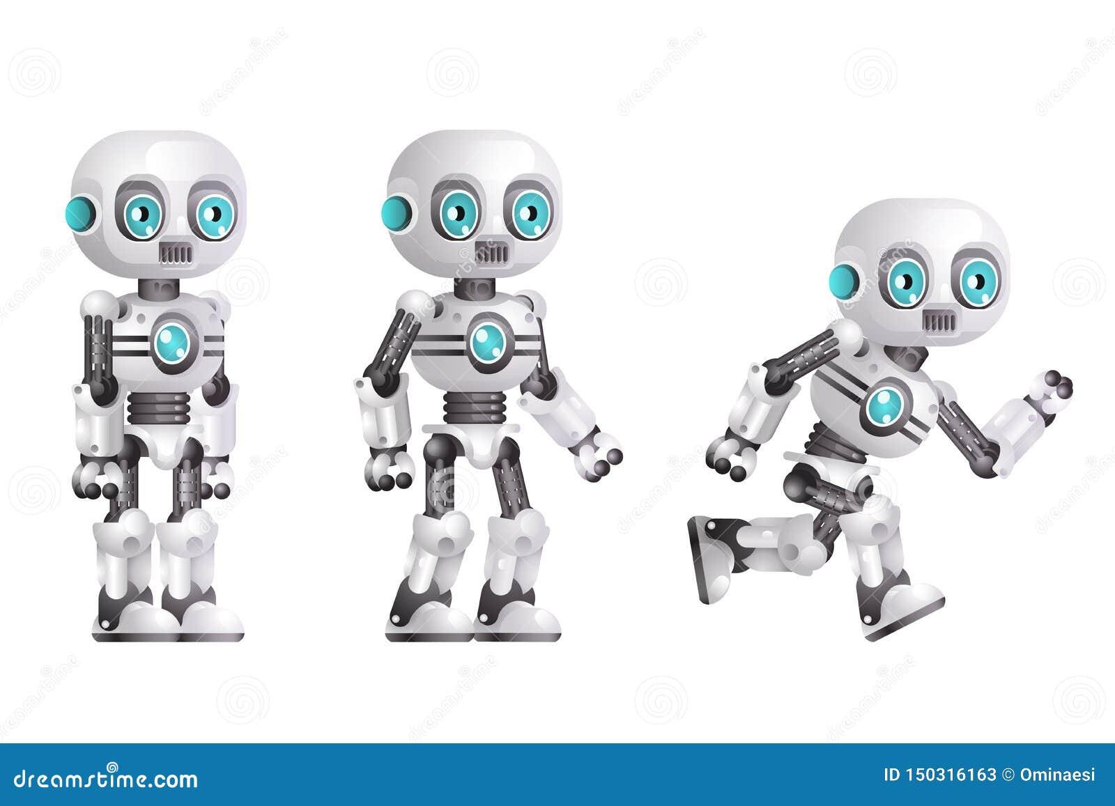 Λίγη χαριτωμένη σύγχρονη αρρενωπή τεχνητή νοημοσύνη χαρακτήρα ρομπότ στάσεων τρεξίματος που απομονώνεται άσπρο τρισδιάστατο σε ρε