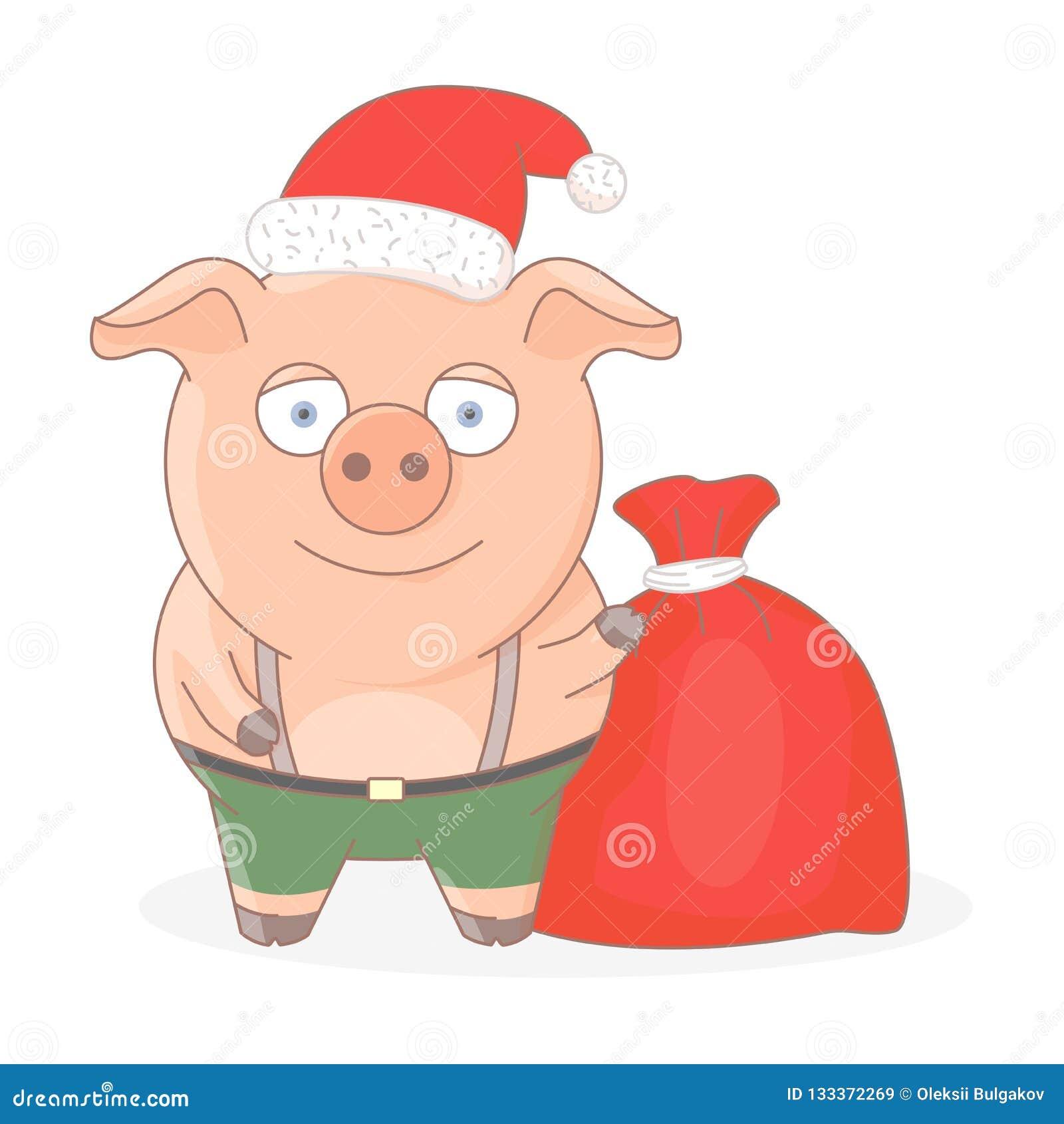Λίγος χοίρος στο καπέλο ενός κόκκινου Santa