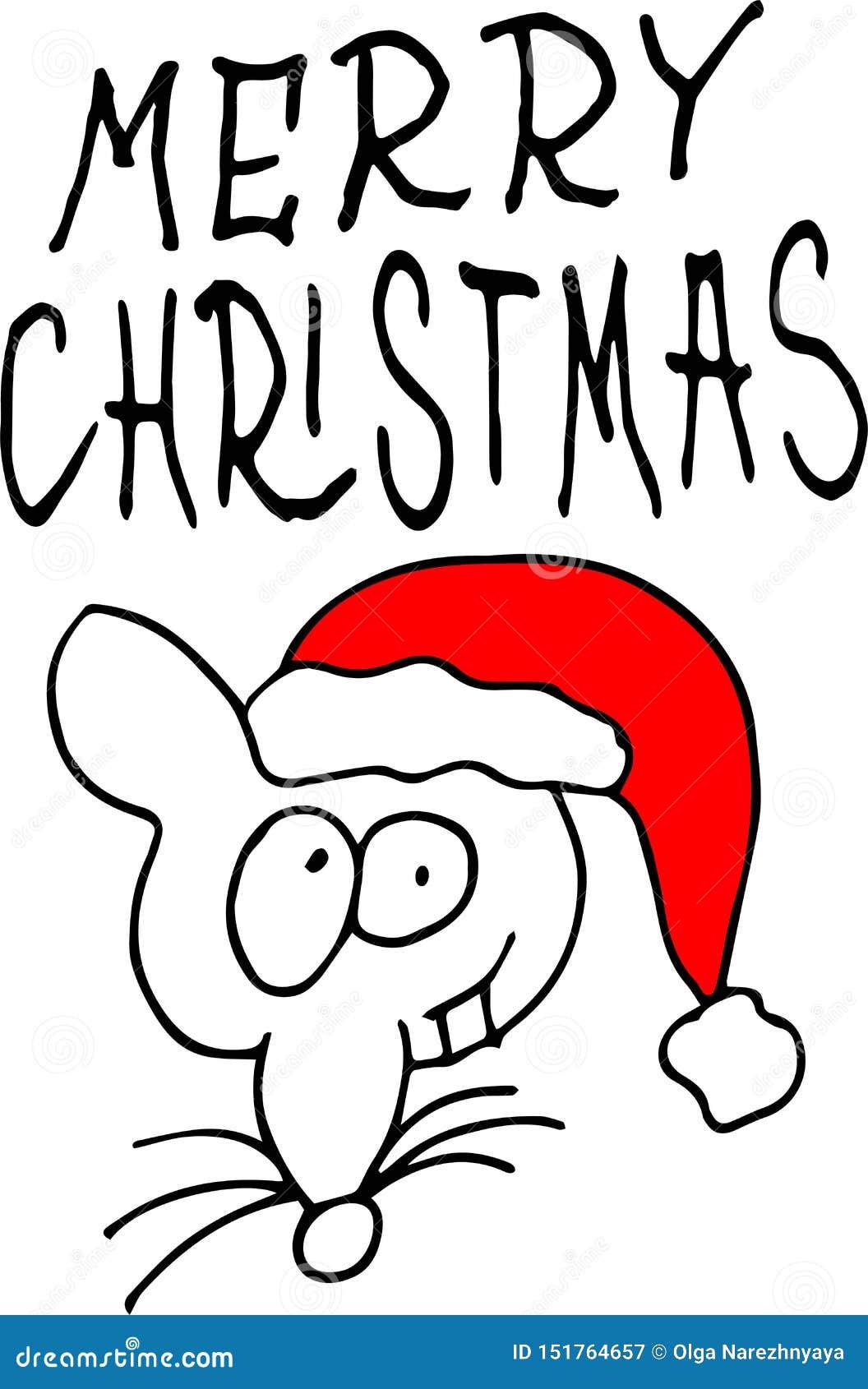 Λίγο ποντίκι σε ένα κόκκινο καπέλο Άγιου Βασίλη Χαρούμενα Χριστούγεννα – απόσπασμα εγγραφής