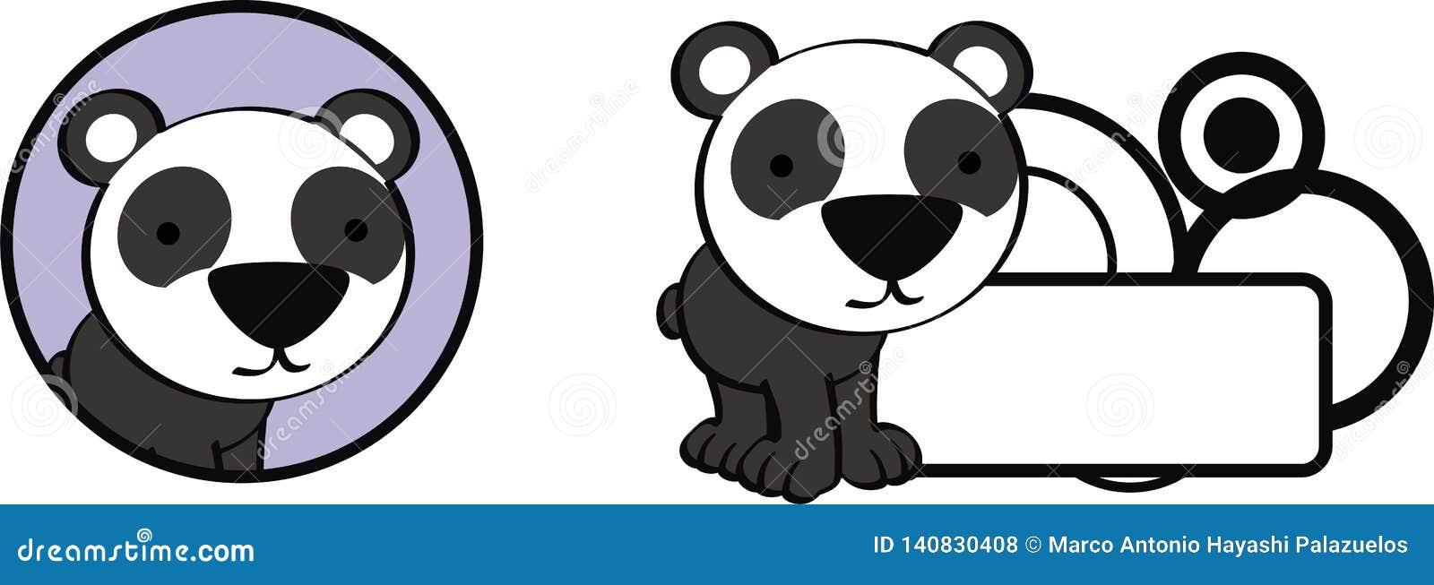 Λίγο panda μωρών αντέχει το σύνολο αυτοκόλλητων ετικεττών κινούμενων σχεδίων kawaii