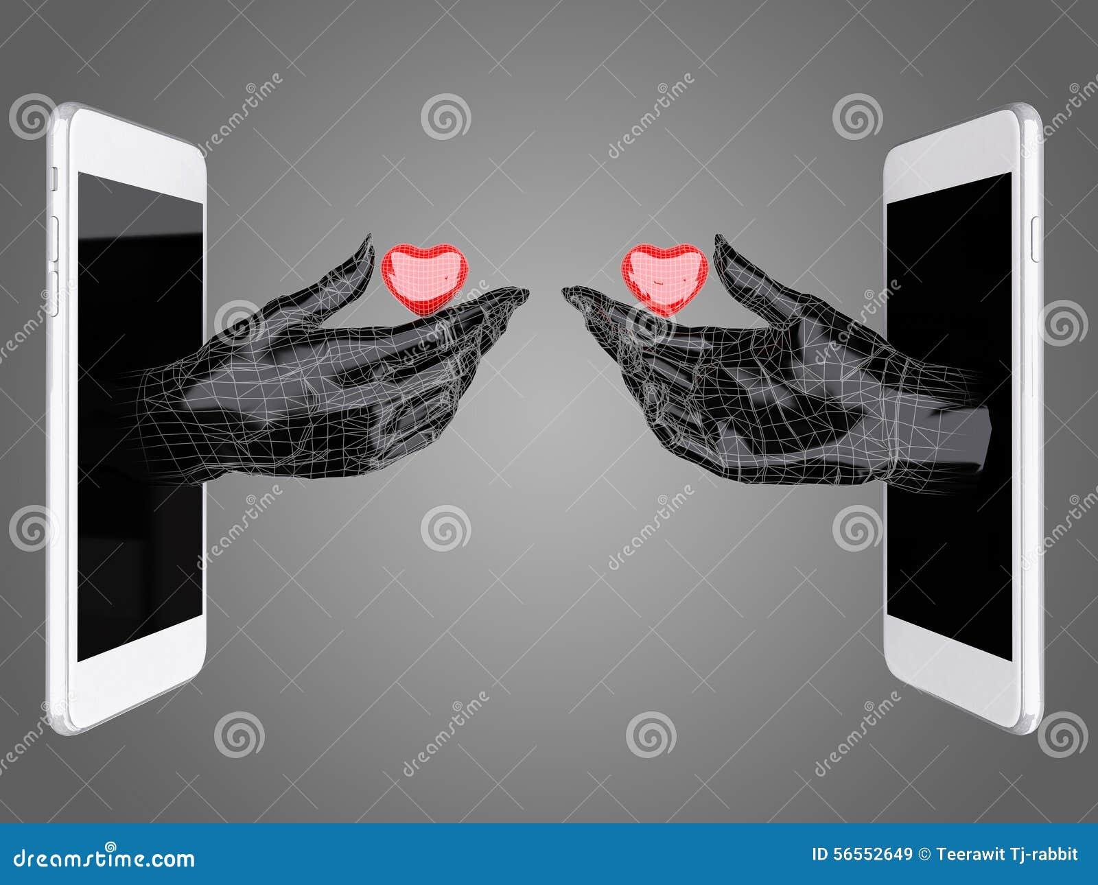 Download Λαβή χεριών η κόκκινη καρδιά από ένα έξυπνο τηλέφωνο Απεικόνιση αποθεμάτων - εικονογραφία από έννοια, arroyos: 56552649