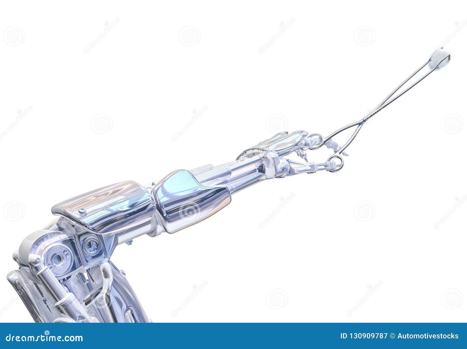 Λαβίδες εκμετάλλευσης χεριών χειρούργων ρομπότ Μελλοντική ρομποτική έννοια χειρουργικών επεμβάσεων τρισδιάστατη απεικόνιση