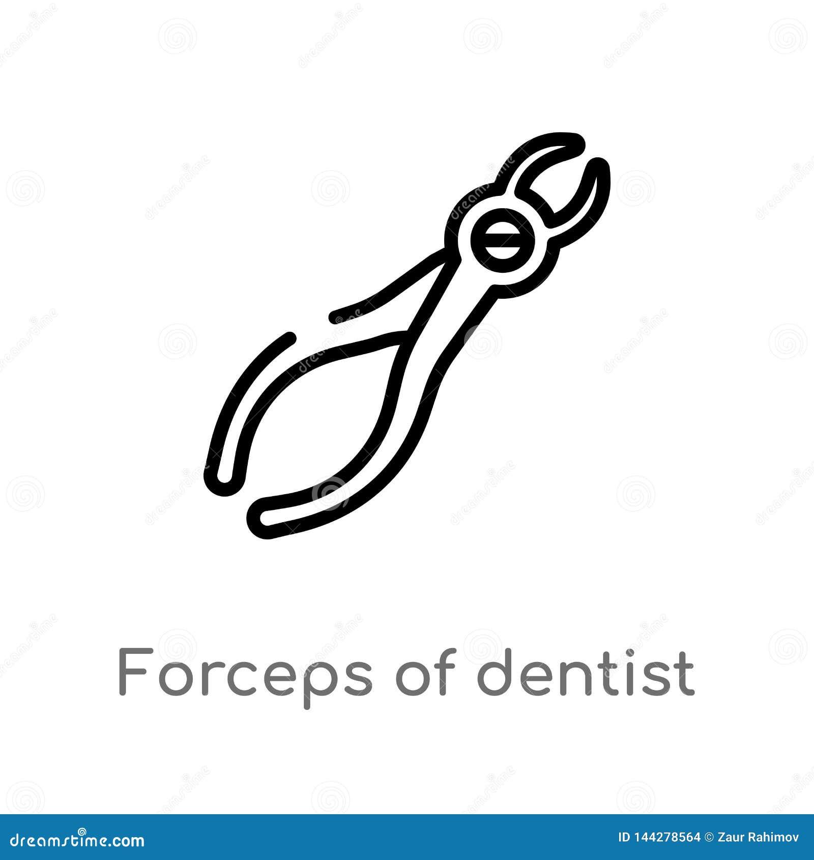 λαβίδες περιλήψεων του διανυσματικού εικονιδίου εργαλείων οδοντιάτρων απομονωμένη μαύρη απλή απεικόνιση στοιχείων γραμμών από την