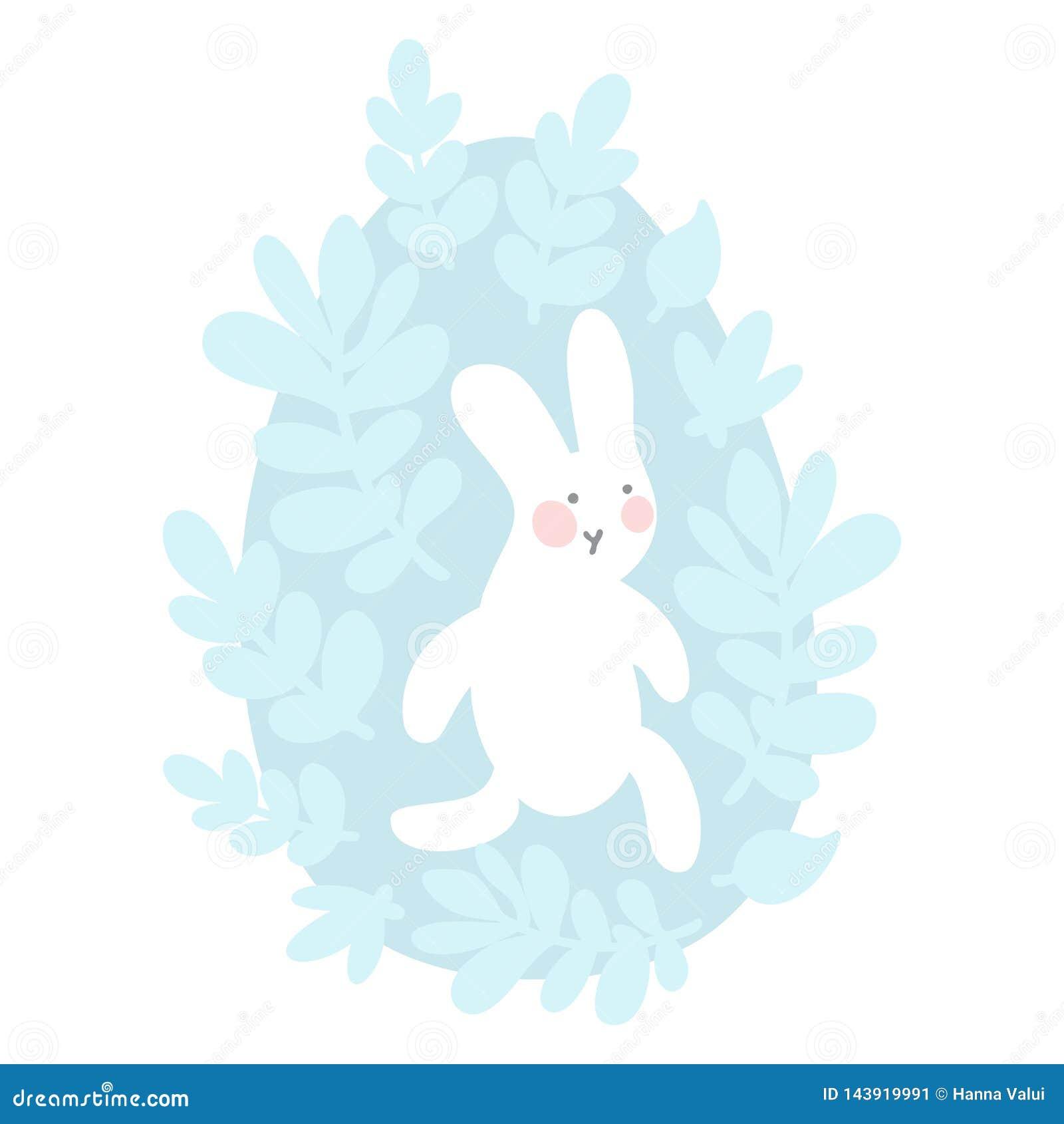 Λαγουδάκι Πάσχας κινούμενων σχεδίων και χαριτωμένο αυγό νεοσσών με τα φύλλα και τους κλάδους Πάσχα ή διανυσματική απεικόνιση βρεφ