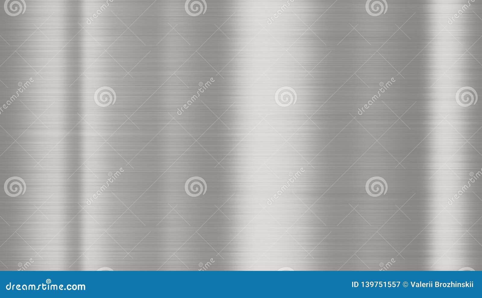 Λαμπρή βουρτσισμένη σύσταση υποβάθρου μετάλλων Γυαλισμένο μεταλλικό στιλπνό λαμπρό ασήμι μετάλλων φύλλων πιάτων χάλυβα