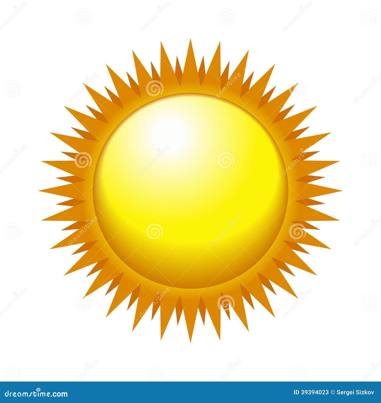 Λαμπρός ήλιος στον ελαφρύ ουρανό. Διάνυσμα