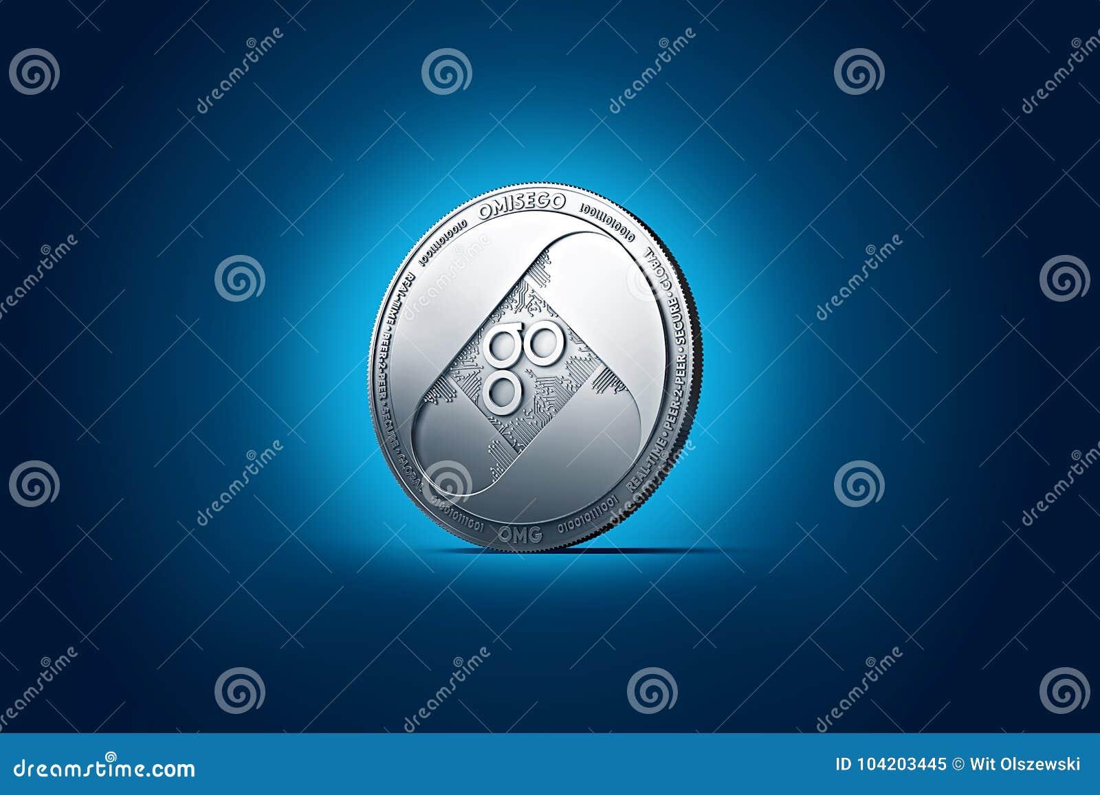 Λαμπρό ασημένιο νόμισμα OMISEGO OMG που επιδεικνύεται στο ήπια αναμμένο σκούρο μπλε υπόβαθρο