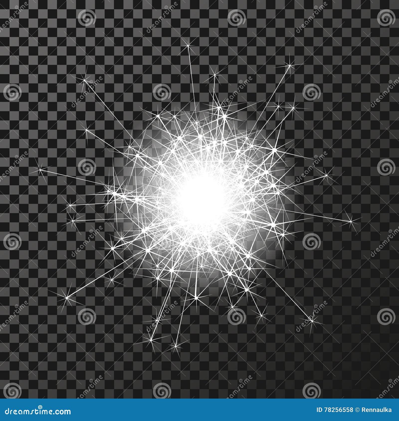 Λαμπρό σύμβολο sparkler στο σκοτεινό υπόβαθρο - sizzling σπινθηρίσματα, αστρική φλόγα διαφάνειας Να λάμψει αντανακλάσεις