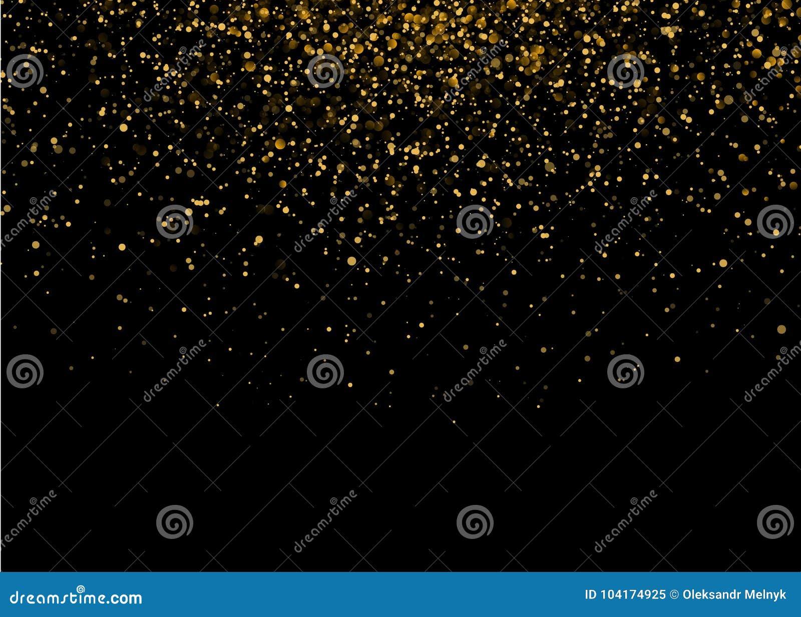 Λαμπρό φως έκρηξης αστεριών με τα χρυσά σπινθηρίσματα πολυτέλειας Μαγική χρυσή ελαφριά επίδραση Διανυσματική απεικόνιση στο μαύρο