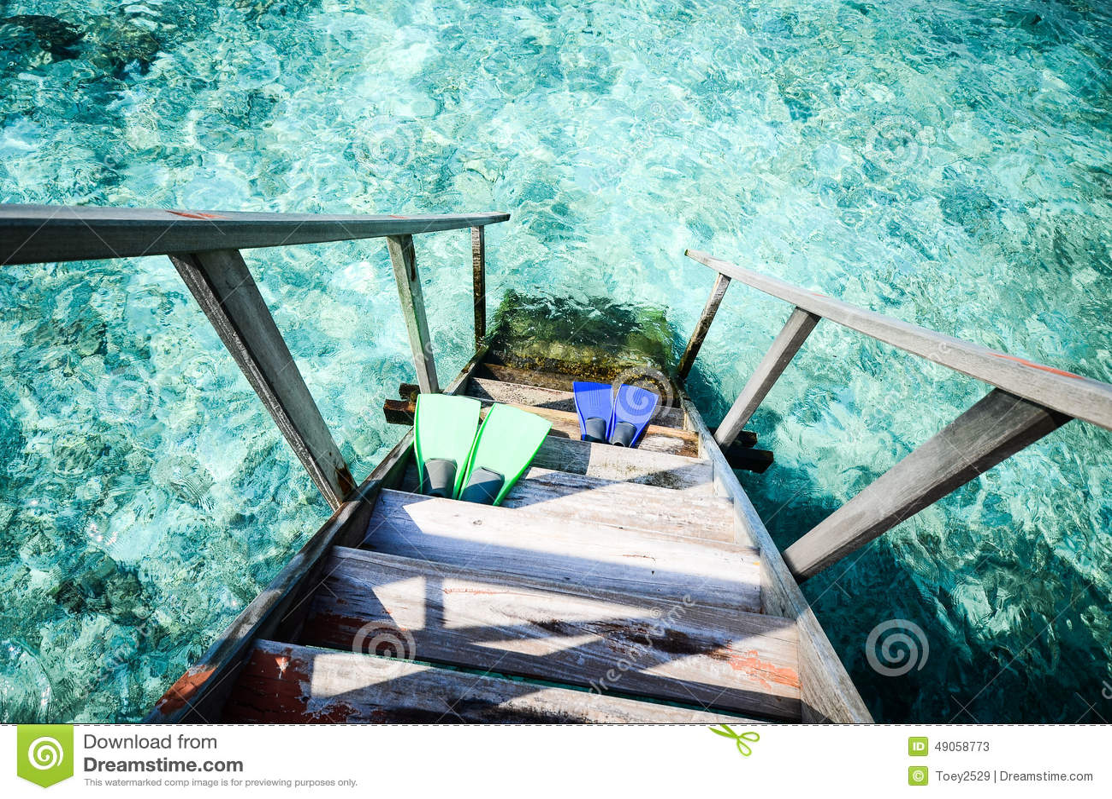 Λαστιχένια βατραχοπέδιλα στη θάλασσα
