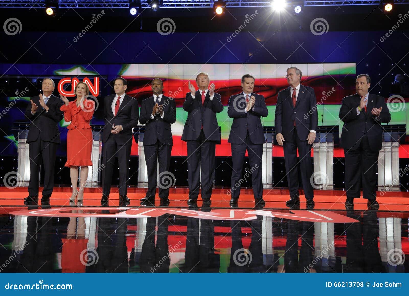ΛΑΣ ΒΈΓΚΑΣ, NV - 15 ΔΕΚΕΜΒΡΊΟΥ: Δημοκρατικοί προεδρικοί υποψήφιοι (LR) John Kasich, Carly Fiorina, Sen Ο Marco Rubio, Ben Carson,
