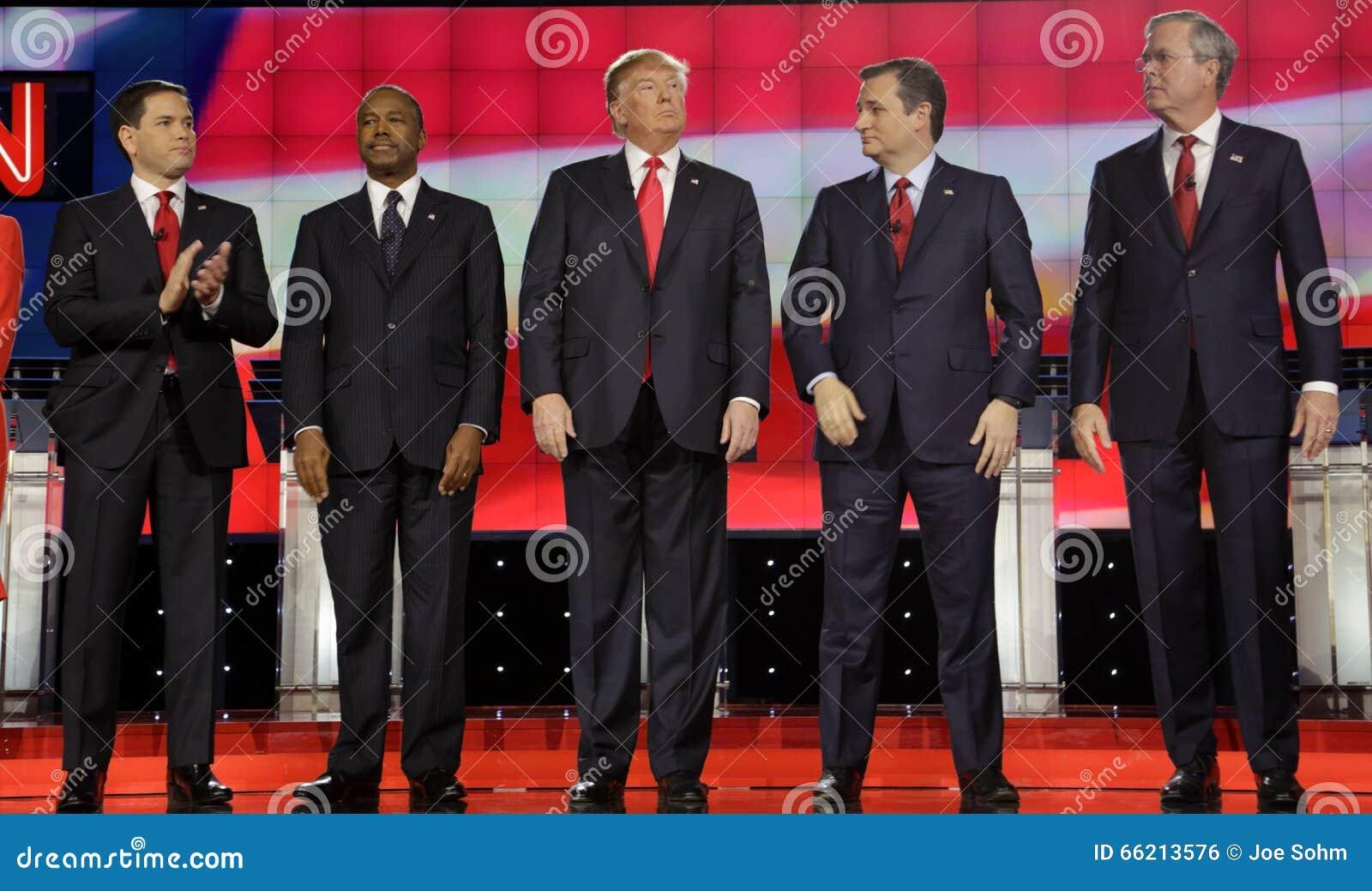 ΛΑΣ ΒΈΓΚΑΣ, NV - 15 ΔΕΚΕΜΒΡΊΟΥ: Δημοκρατικοί προεδρικοί υποψήφιοι (LR) Marco Rubio, Ben Carson, Ντόναλντ Τραμπ, Sen TED Cruz, Bu