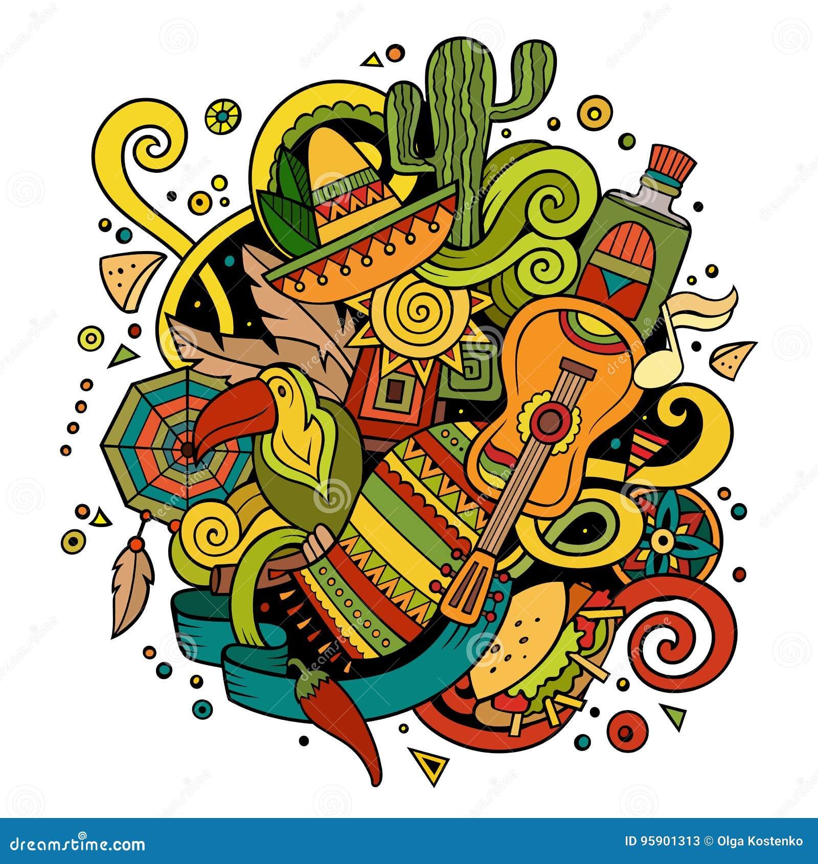 Λατινοαμερικάνικη απεικόνιση doodles κινούμενων σχεδίων hand-drawn