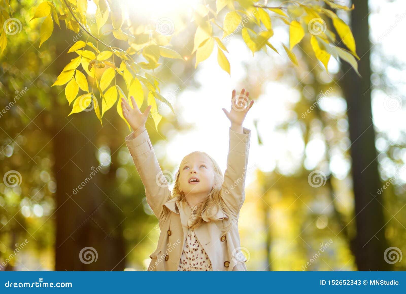 Λατρευτό νέο κορίτσι που έχει τη διασκέδαση την όμορφη ημέρα φθινοπώρου Ευτυχές παιχνίδι παιδιών στο πάρκο φθινοπώρου Παιδί που σ