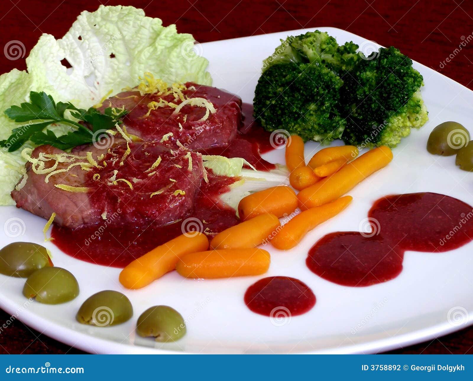 λαχανικά μπριζολών βόειου κρέατος