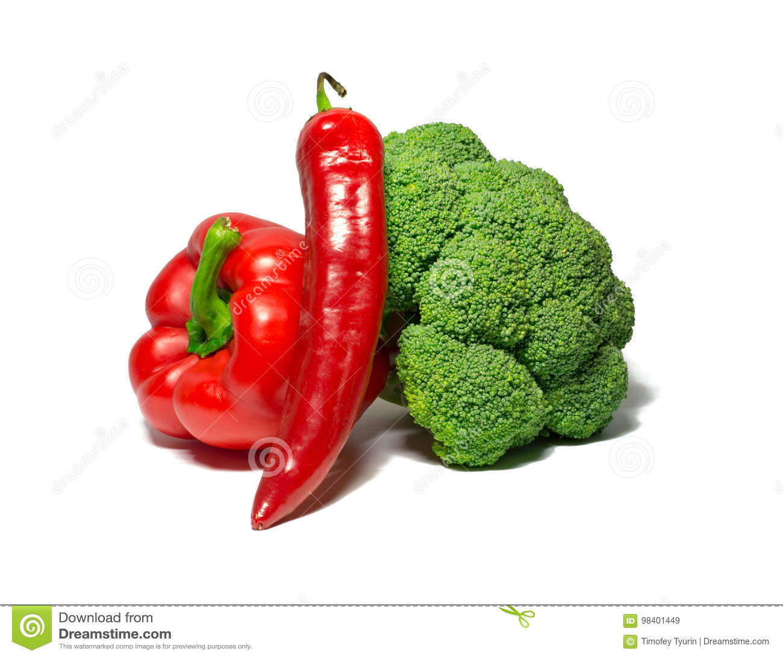 Λαχανικά που απομονώνονται στο λευκό πιπέρι κουδουνιών, τσίλι, μπρόκολο τρόφιμα, αντικείμενο
